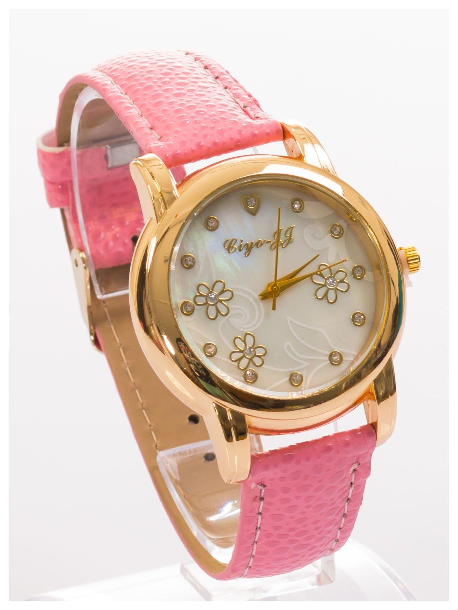 Damski zegarek z cyrkoniami i zdobieniami na perłowej tarczy                                  zdj.                                  3