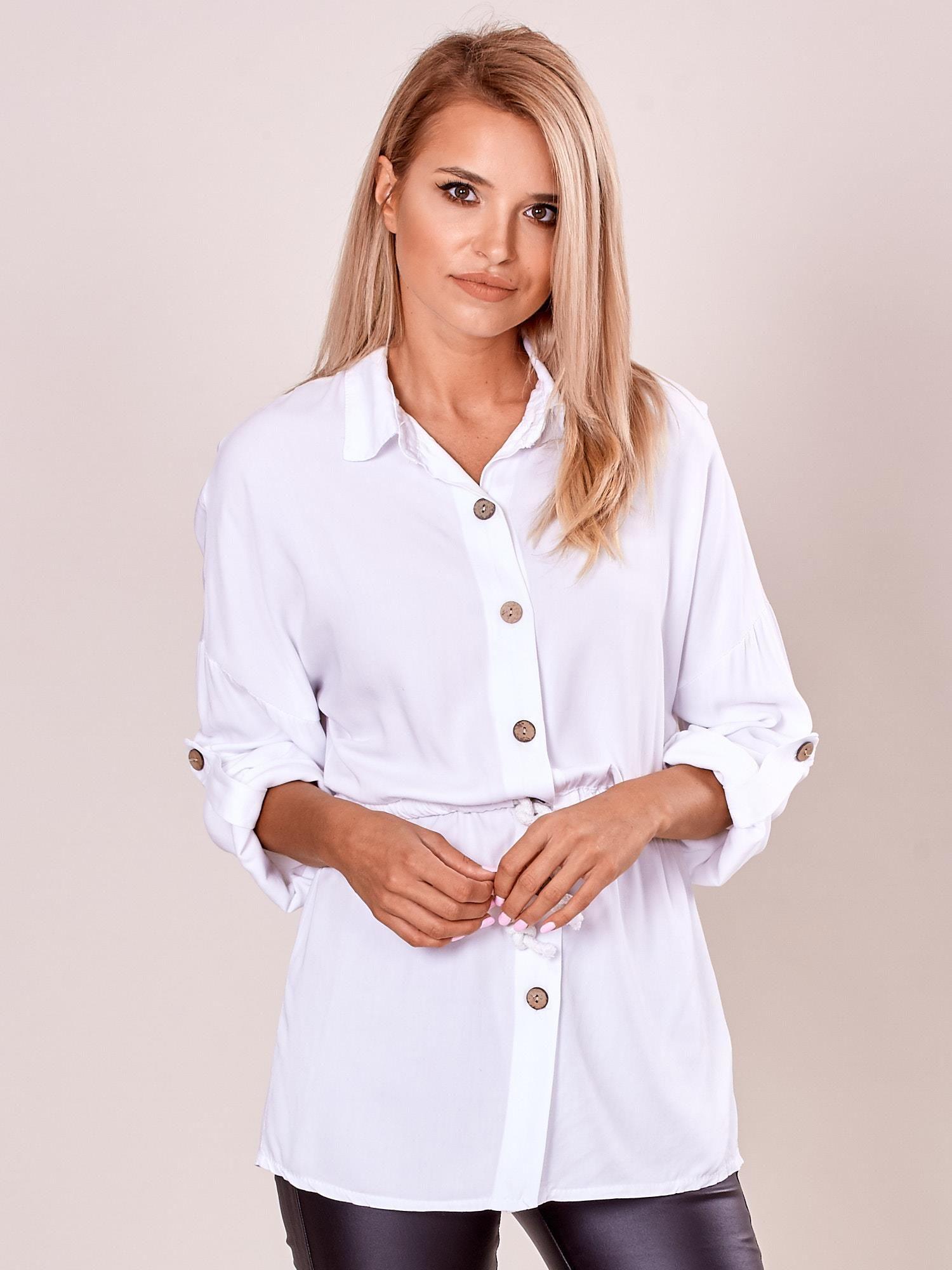 8fc2dc53 Długa biała bluzka koszulowa