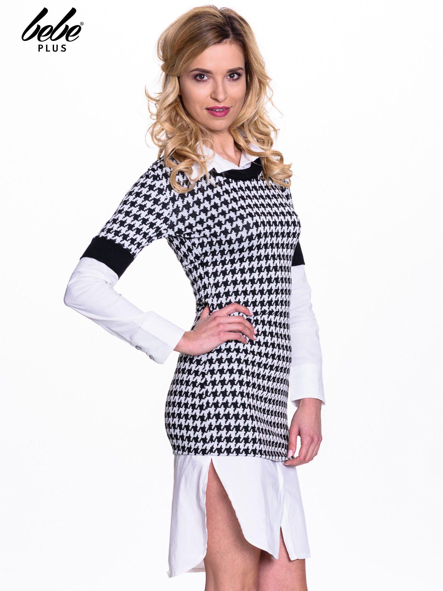 Dwuczęściowa sukienka w pepitkę z białą koszulą                                  zdj.                                  3