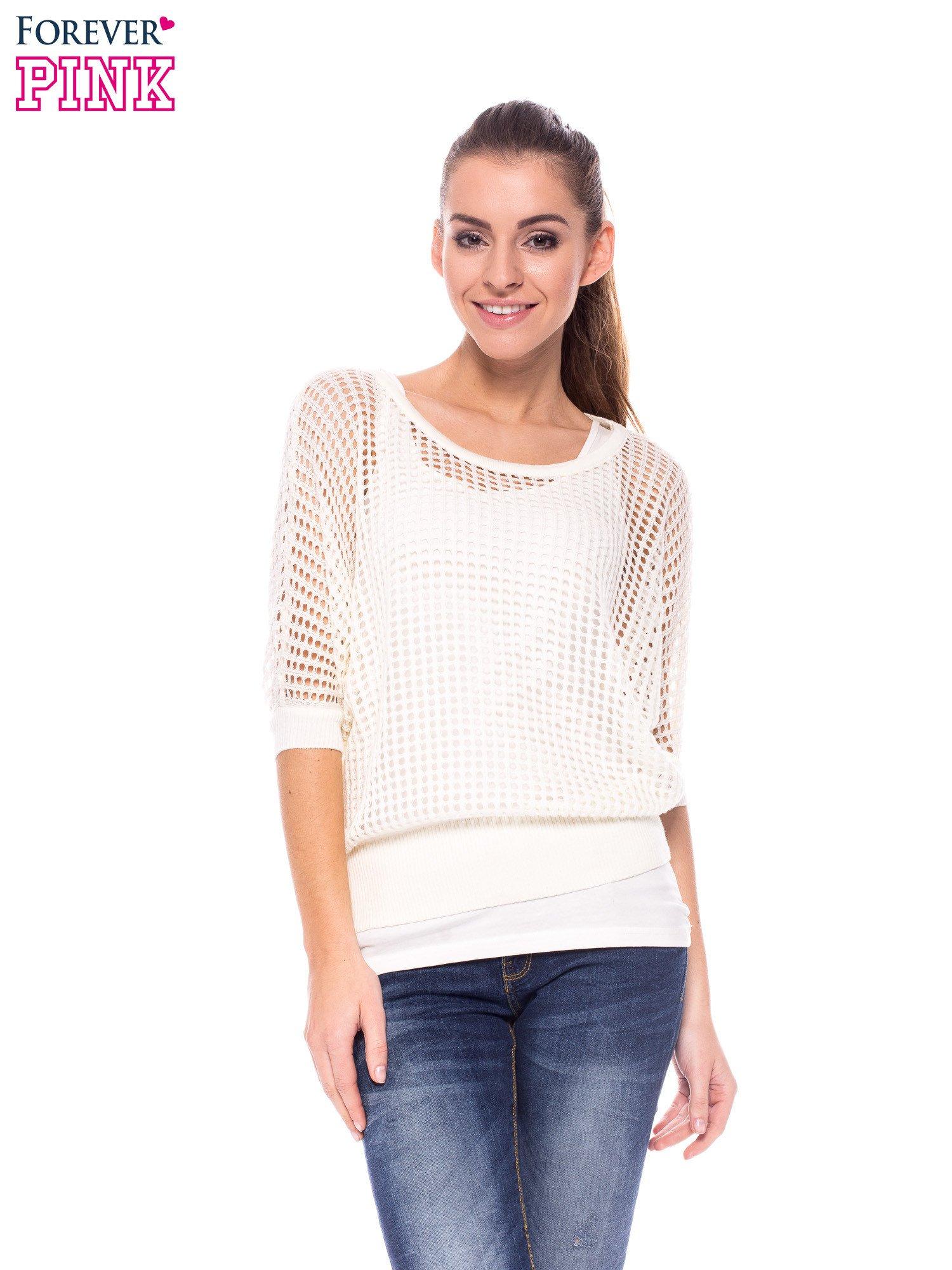 Ecru ażurowy sweter oversize                                  zdj.                                  1