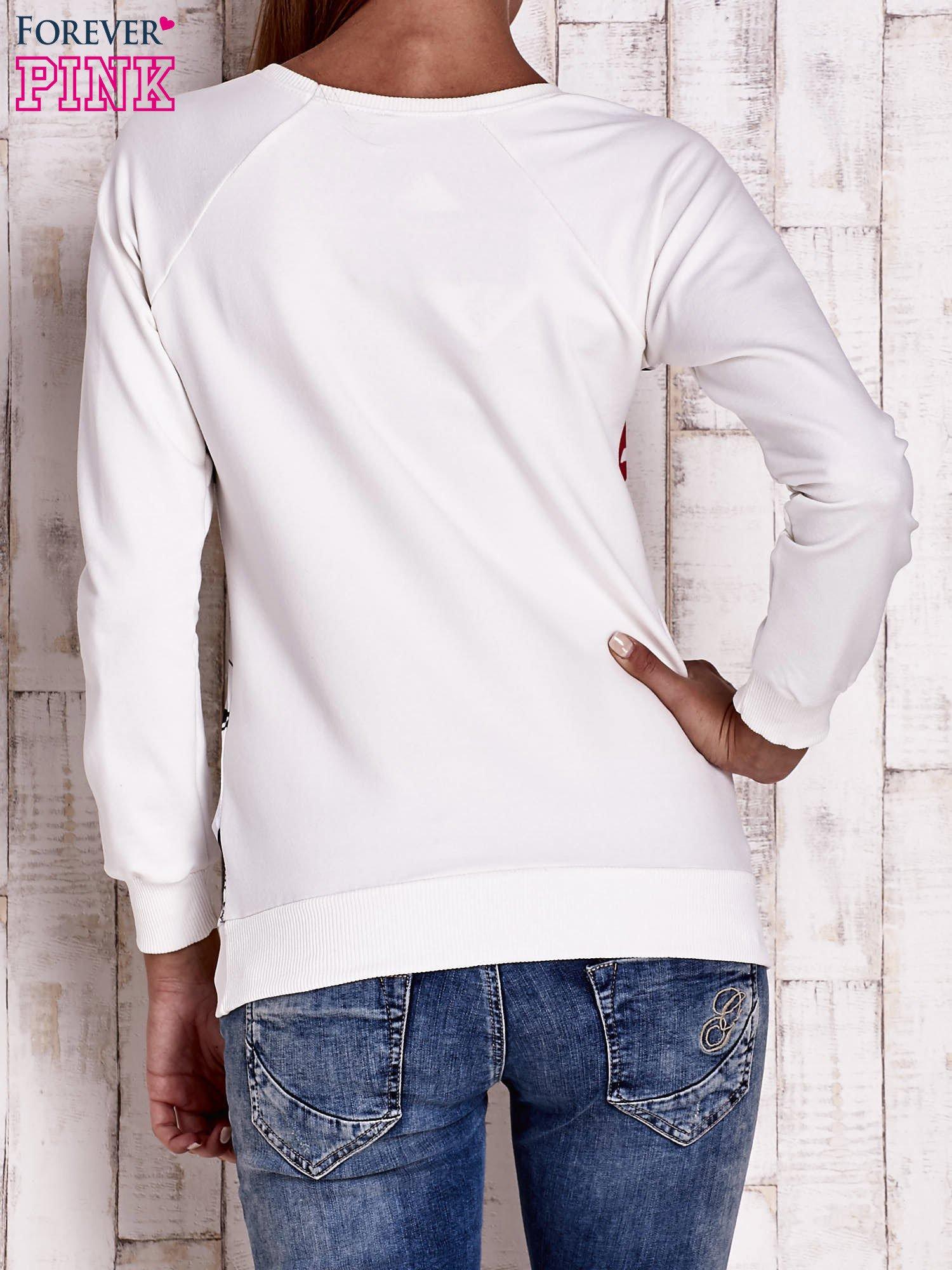 Ecru bluza z kocim motywem                                   zdj.                                  4