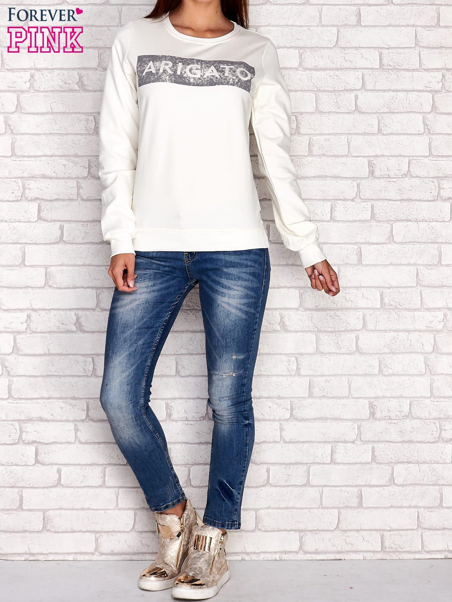 Ecru bluza z napisem ARIGATO                                  zdj.                                  4