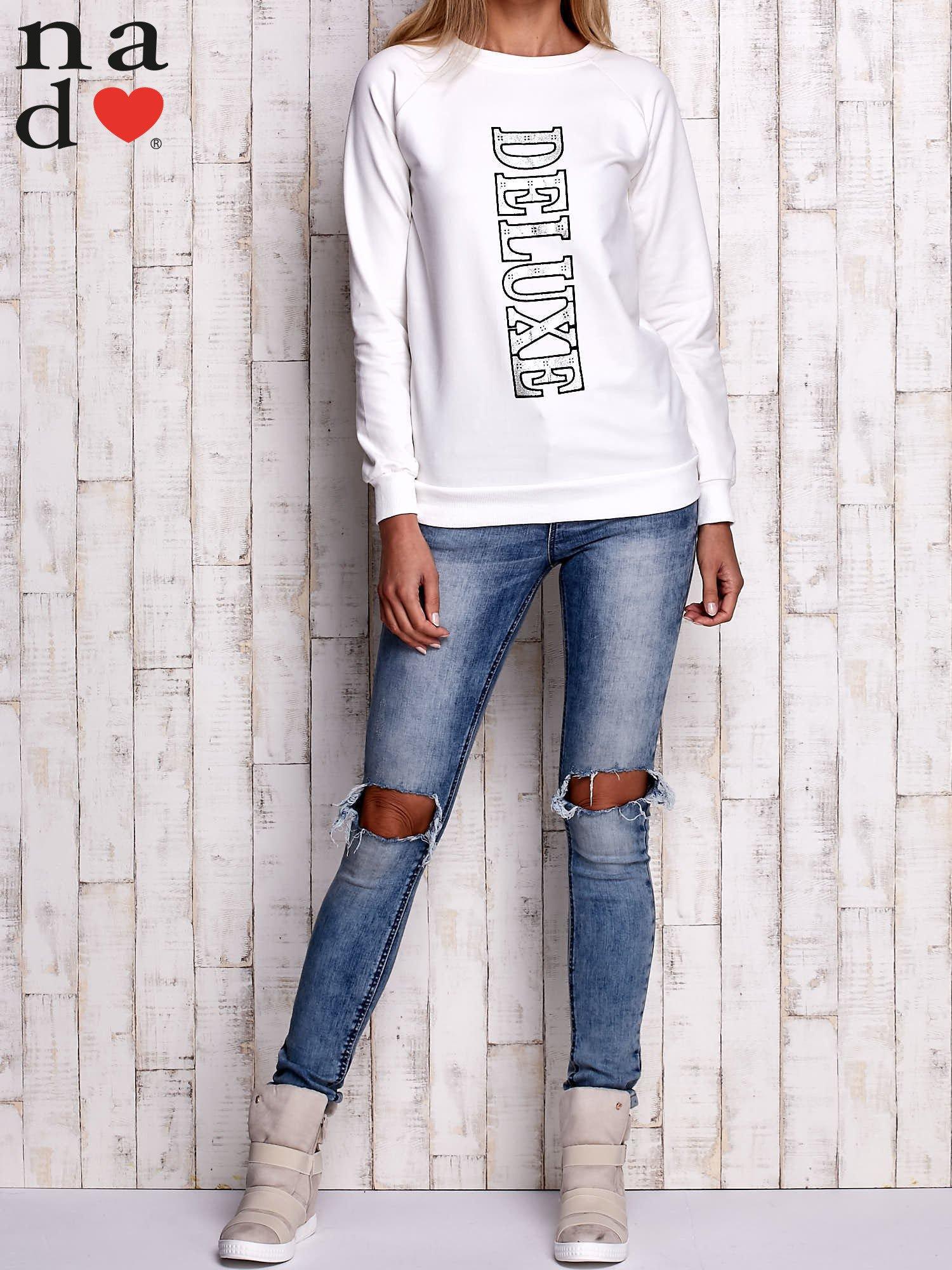 Ecru bluza z napisem DELUXE                                  zdj.                                  2