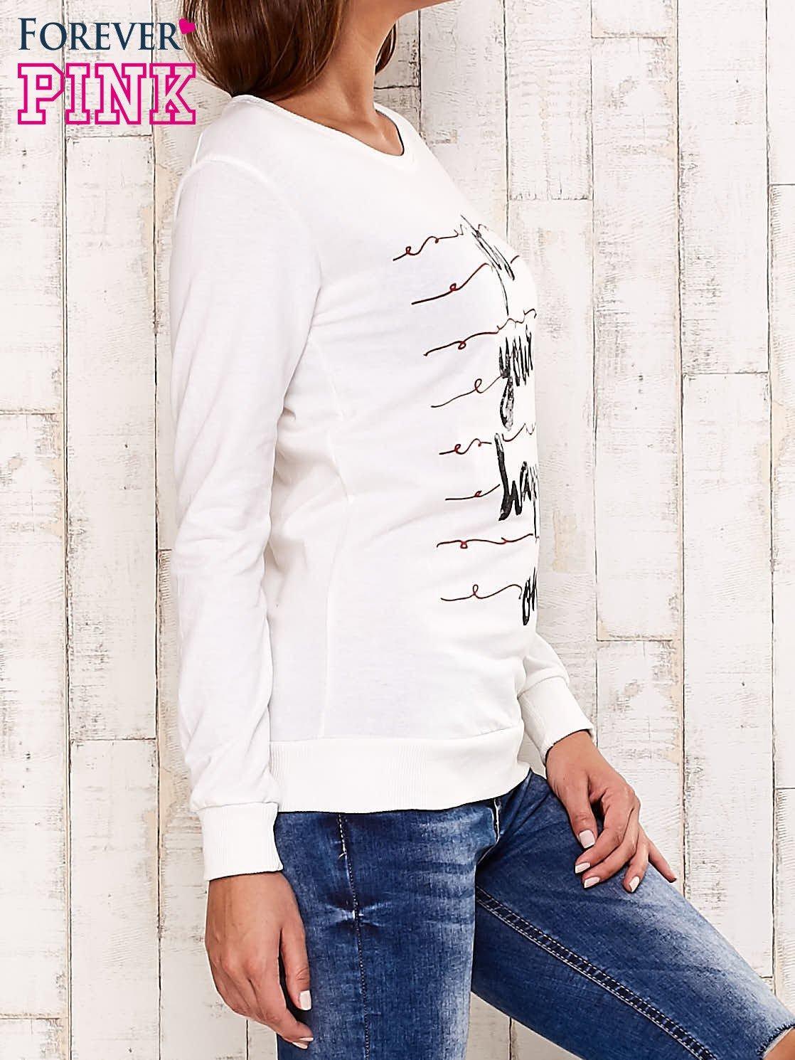 Ecru bluza z napisem GET YOUR HAPPY ON                                  zdj.                                  3