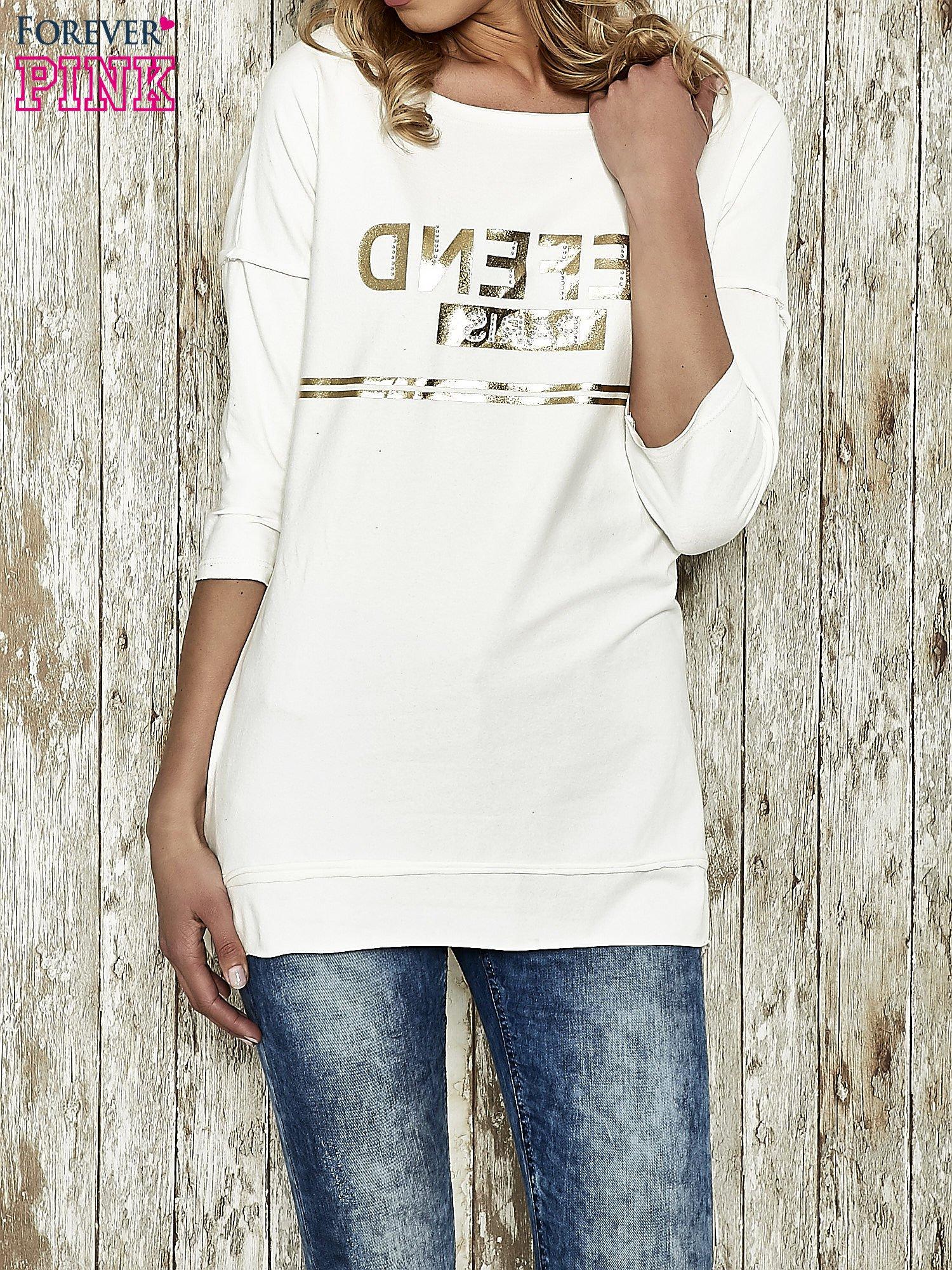 Ecru bluza ze złotym napisem i suwakiem                                  zdj.                                  1