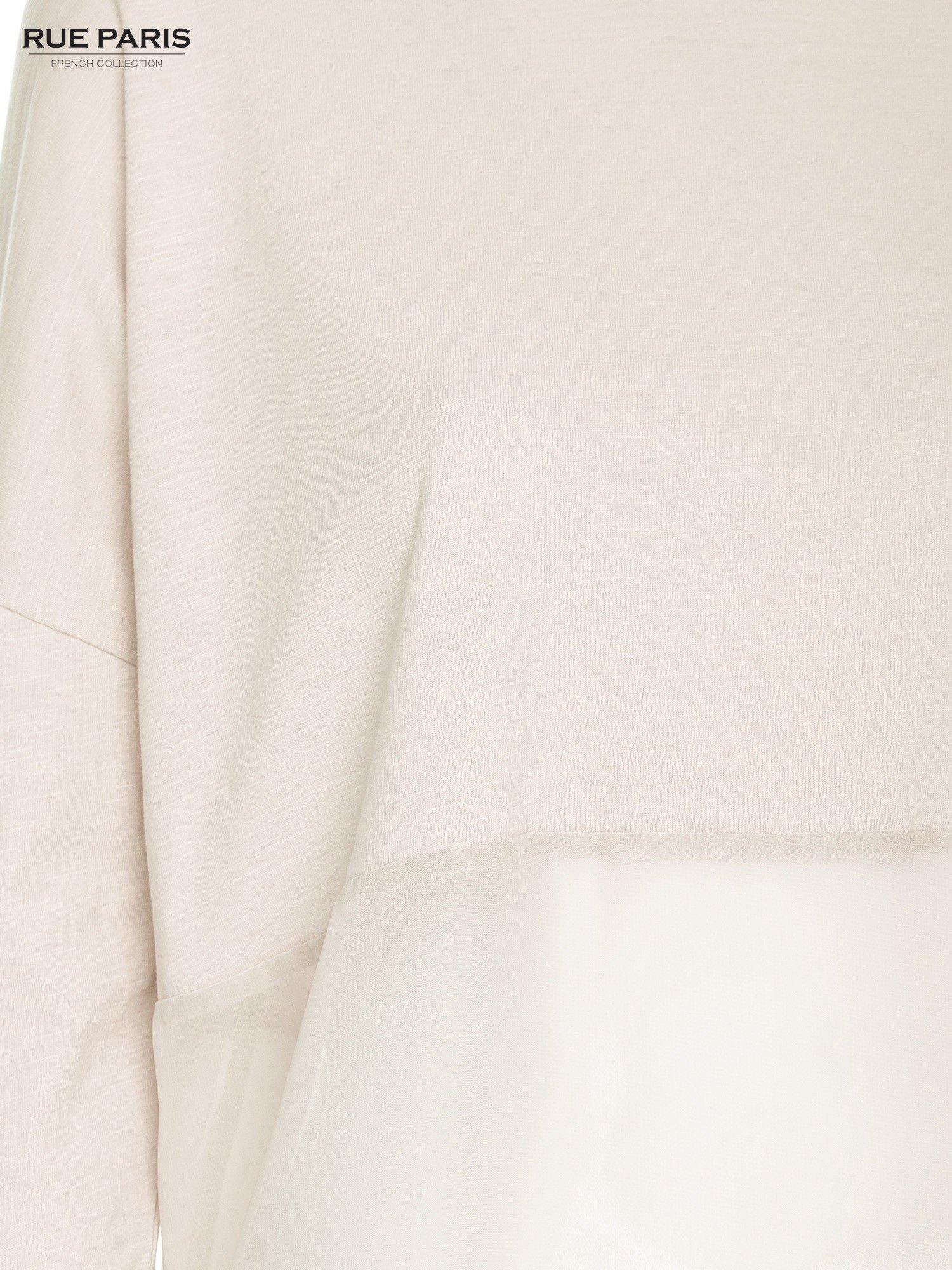 Ecru bluzka oversize z siateczkowym dołem                                  zdj.                                  6