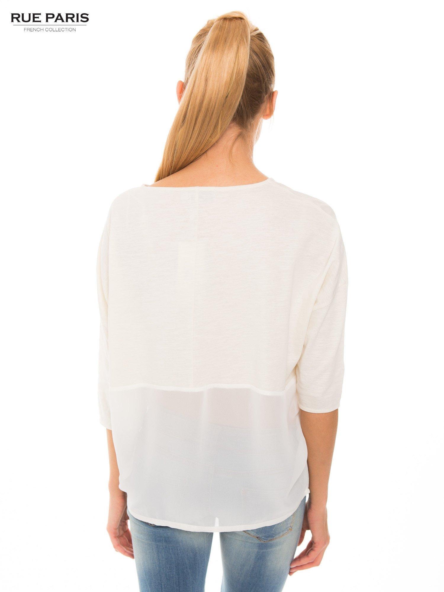 Ecru bluzka oversize z siateczkowym dołem                                  zdj.                                  3