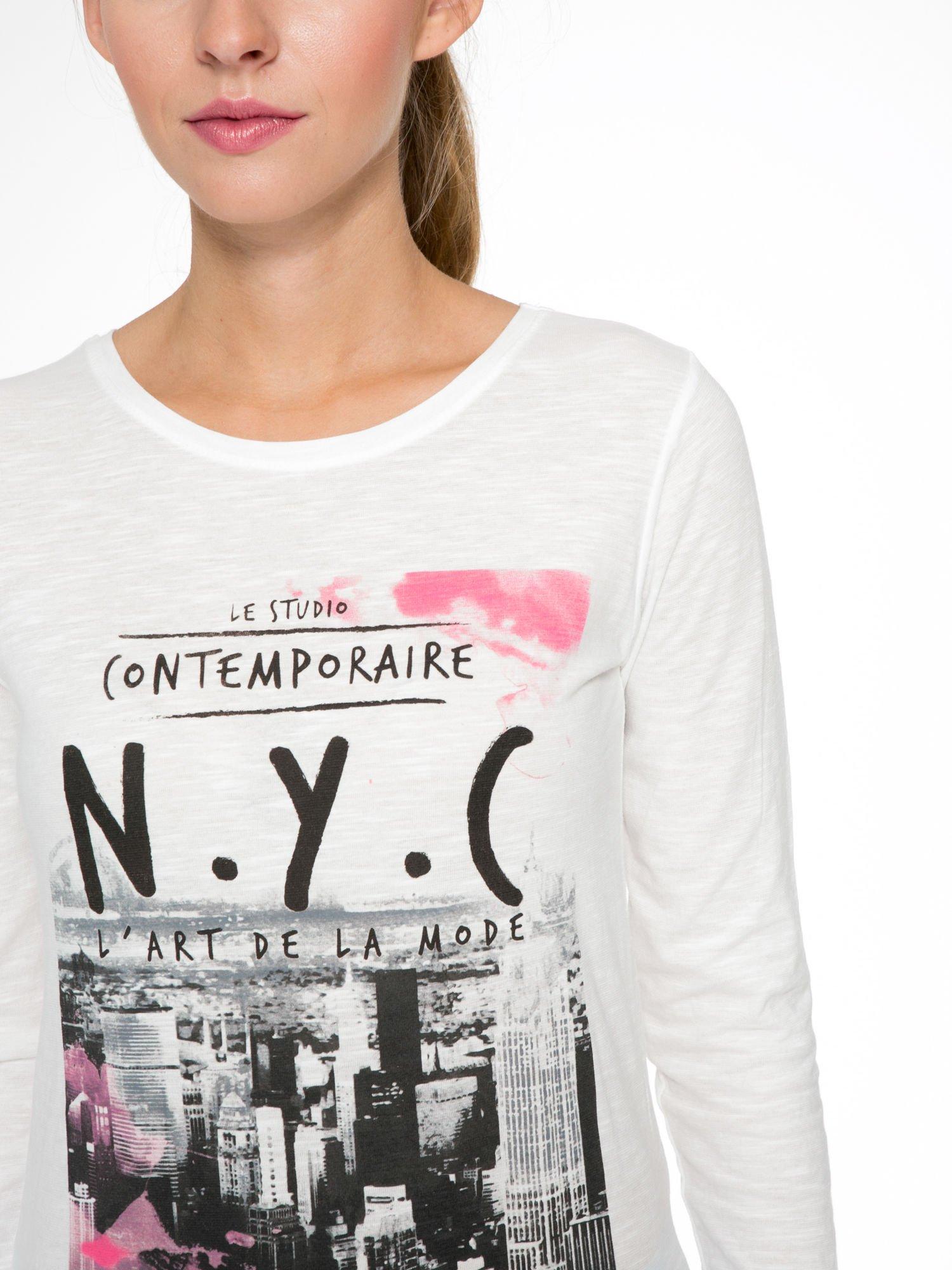 Ecru bluzka z nadrukiem NEW YORK CITY                                  zdj.                                  6