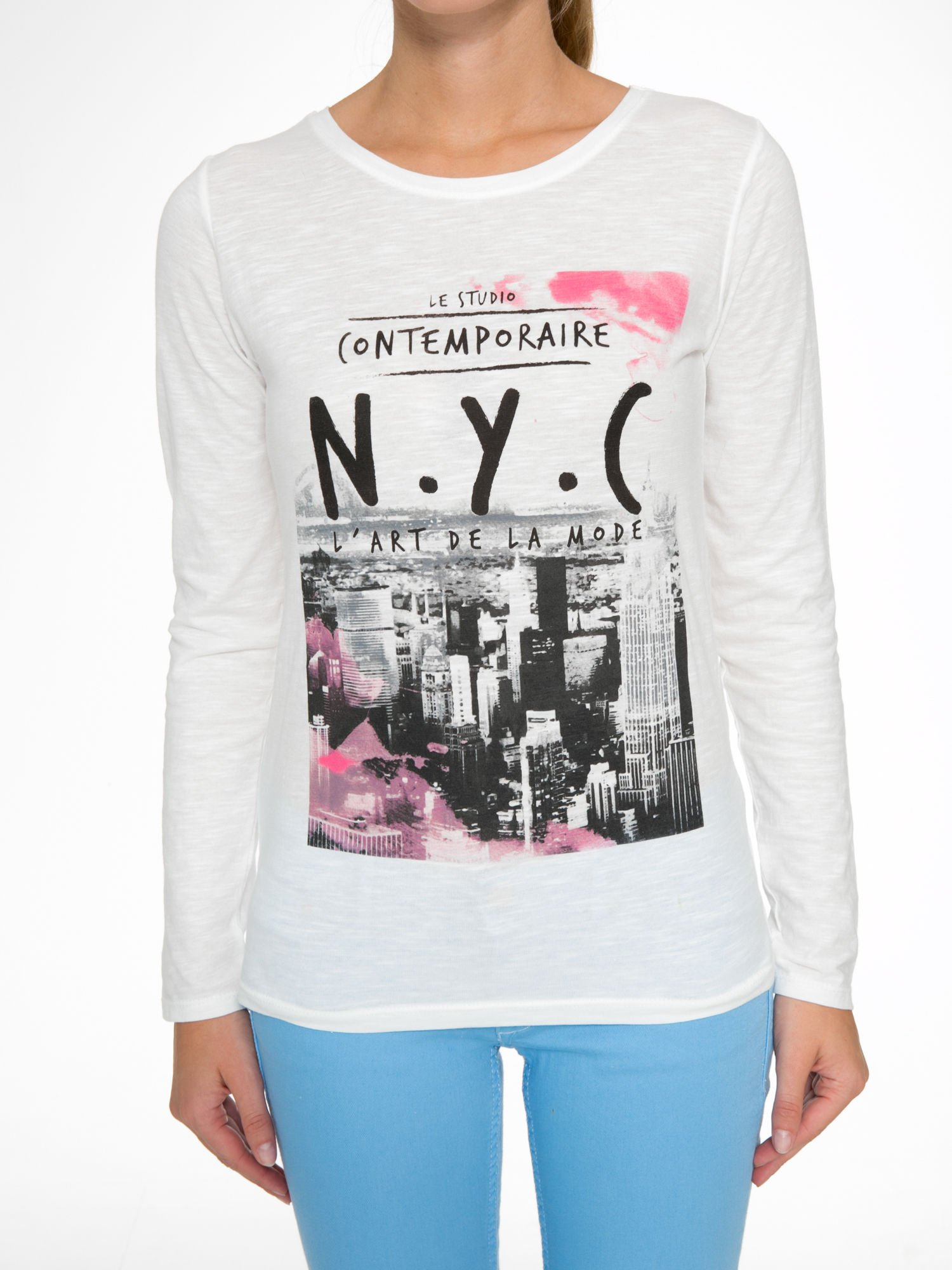 Ecru bluzka z nadrukiem NEW YORK CITY                                  zdj.                                  7