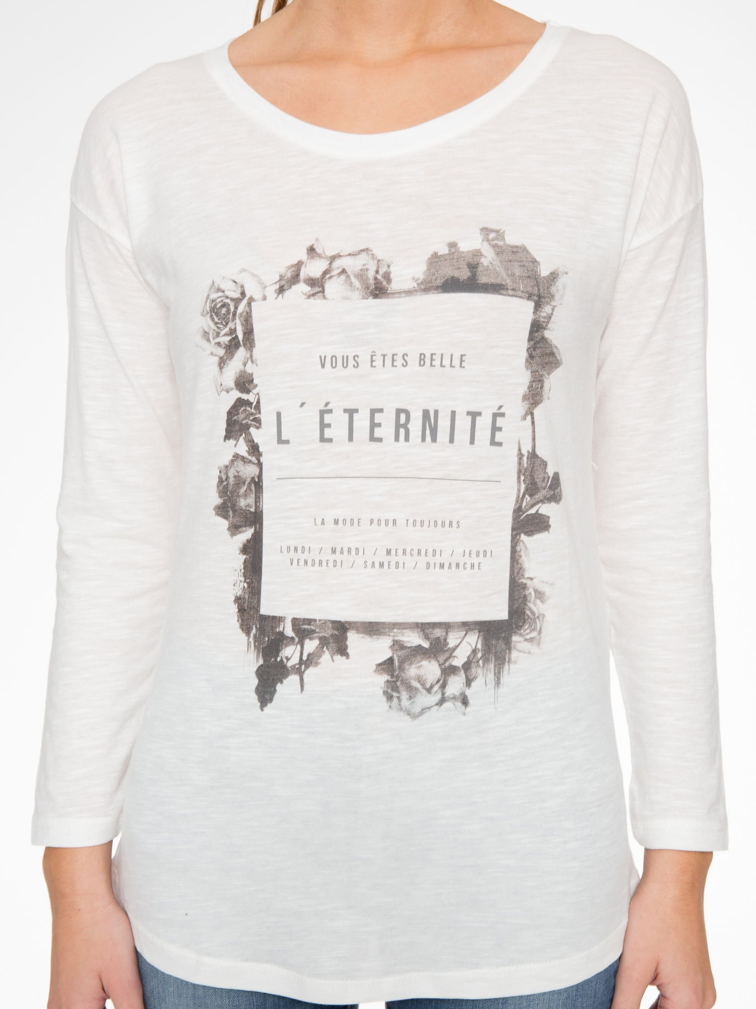 Ecru bluzka z nadrukiem kwiatowym i napisem L'ETERNITÉ                                  zdj.                                  7