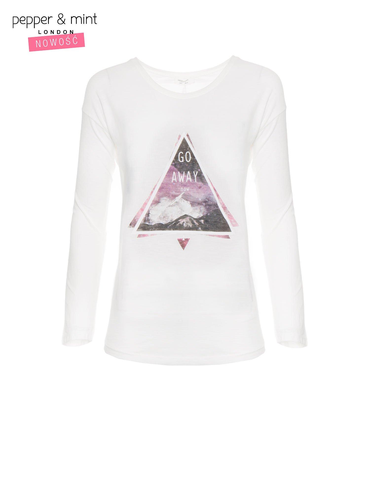 Ecru bluzka z nadrukiem trójkąta i napisem GO AWAY NOW                                  zdj.                                  5