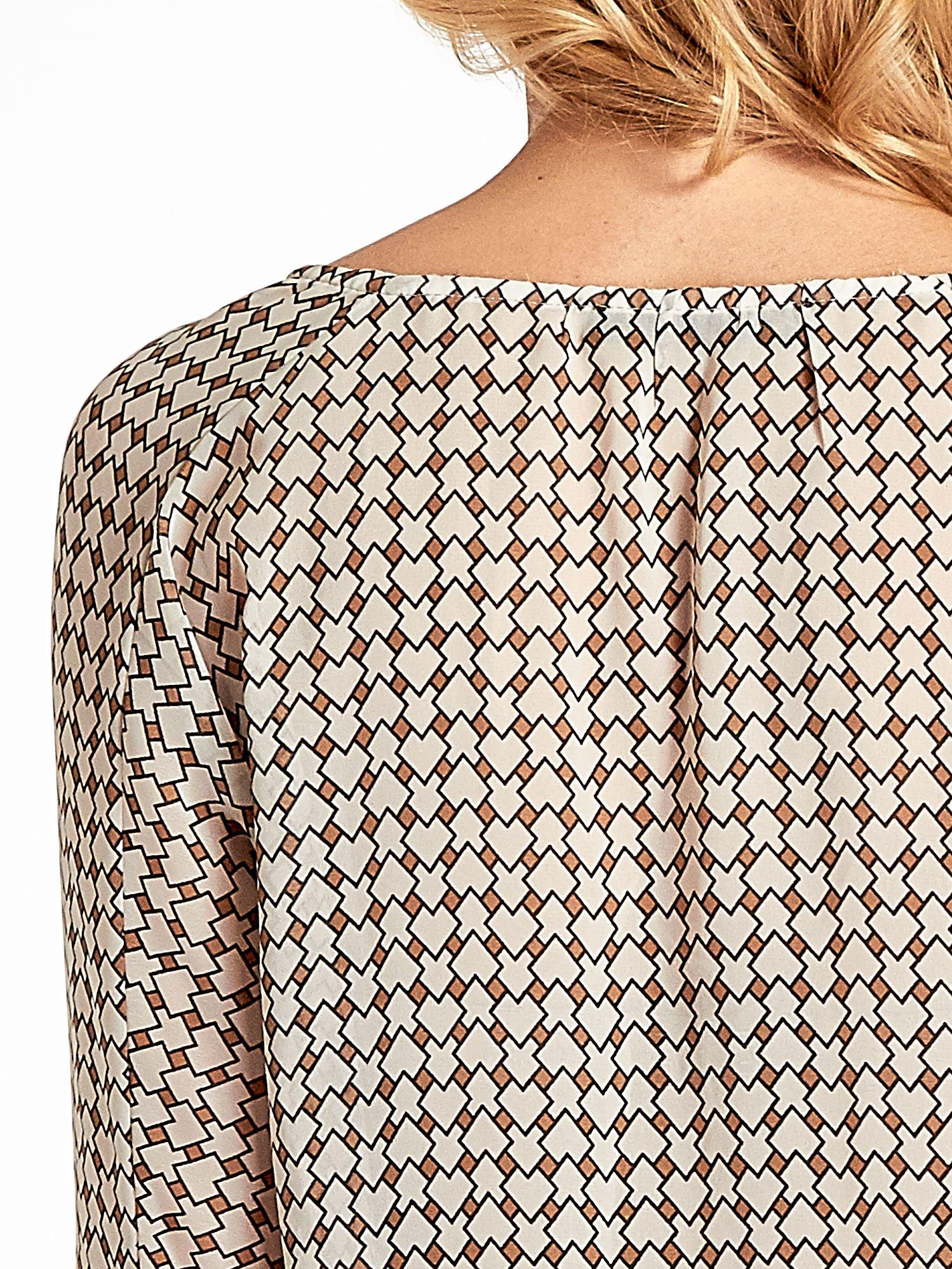 Ecru-brązowa koszula w geometryczne wzory                                  zdj.                                  6