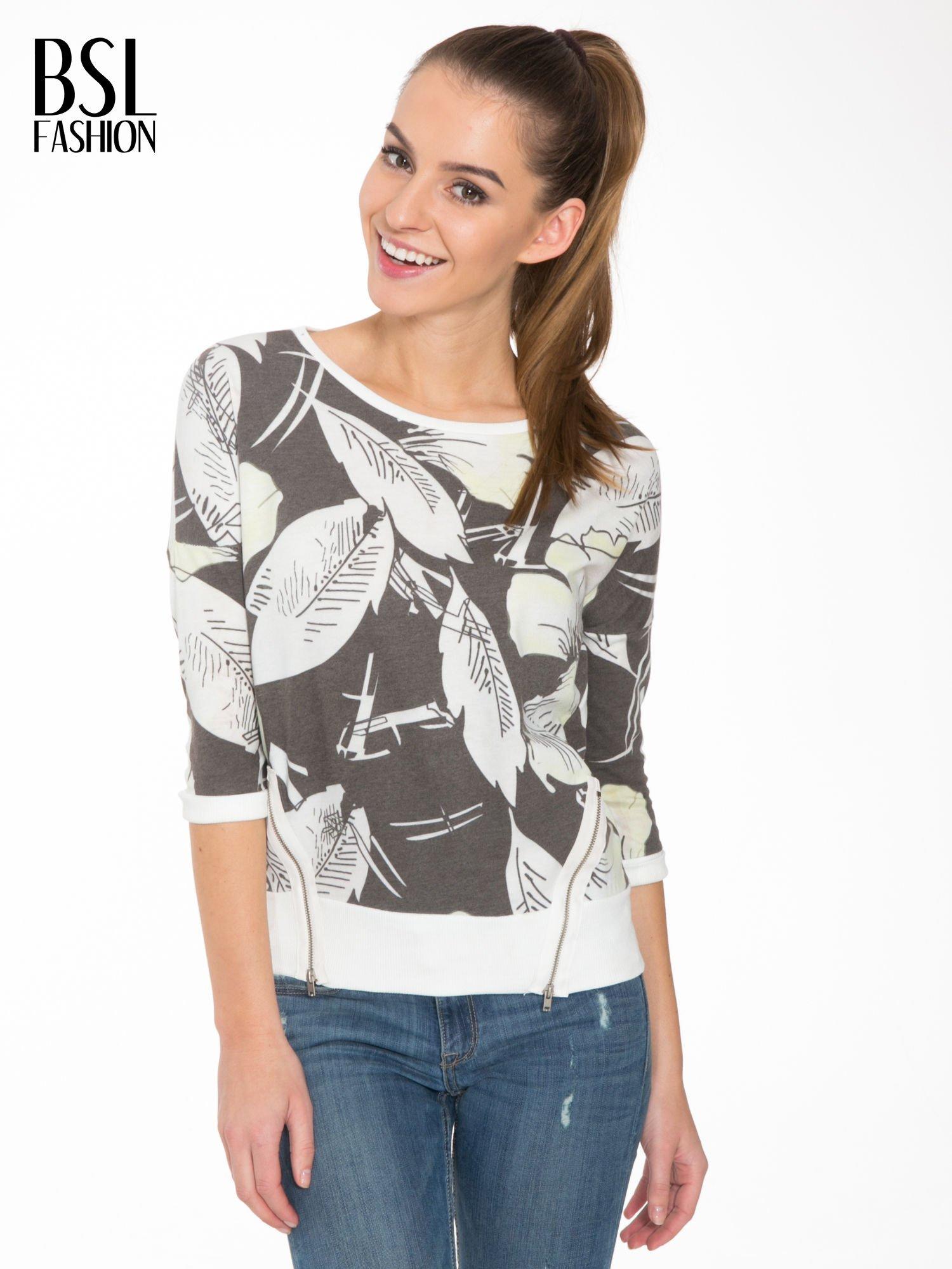 Ecru-czarna bluza z nadrukiem floral print i suwakami                                  zdj.                                  1