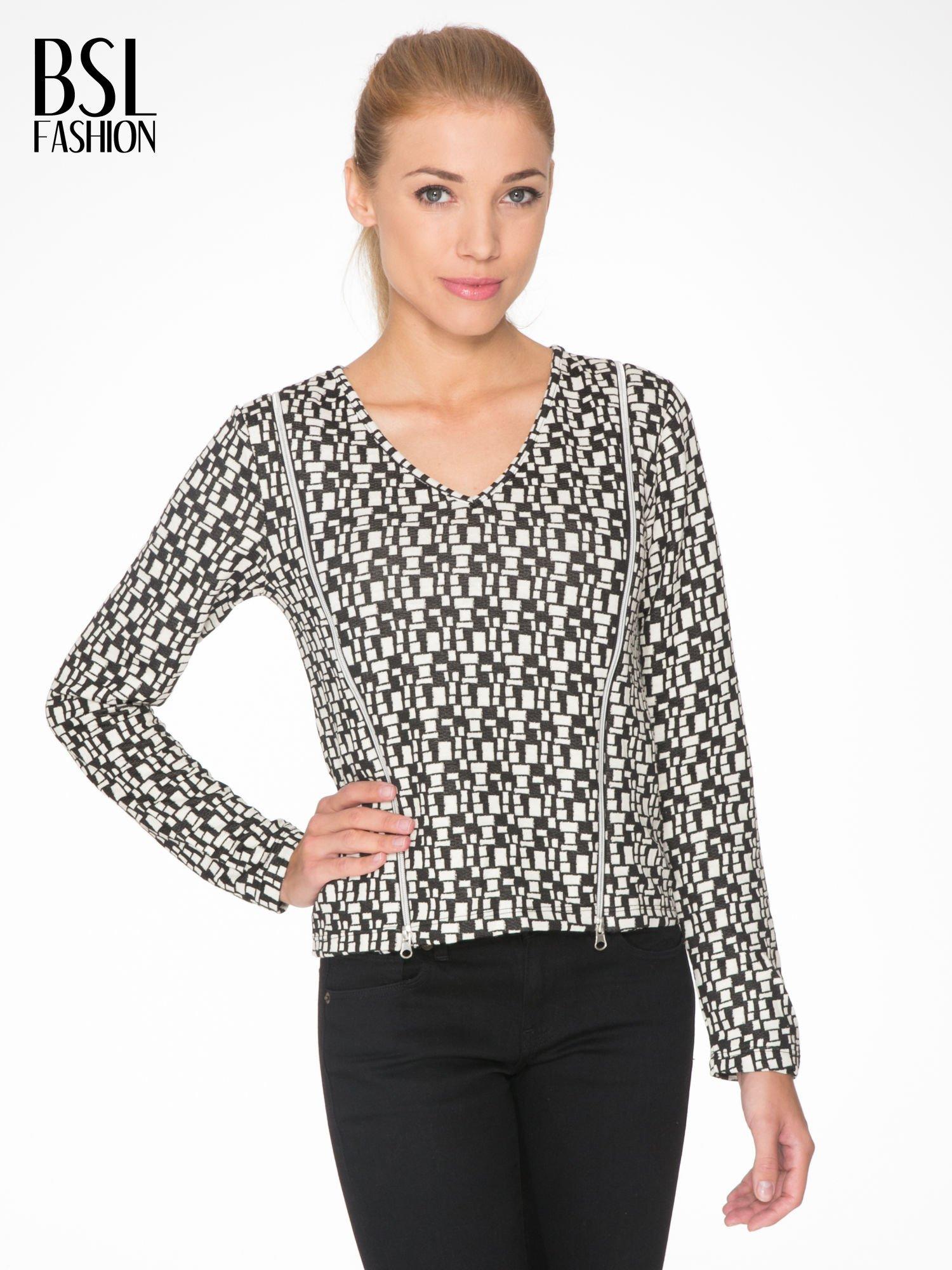 Ecru-czarna bluzka w geometryczne wzory z suwakami                                  zdj.                                  1