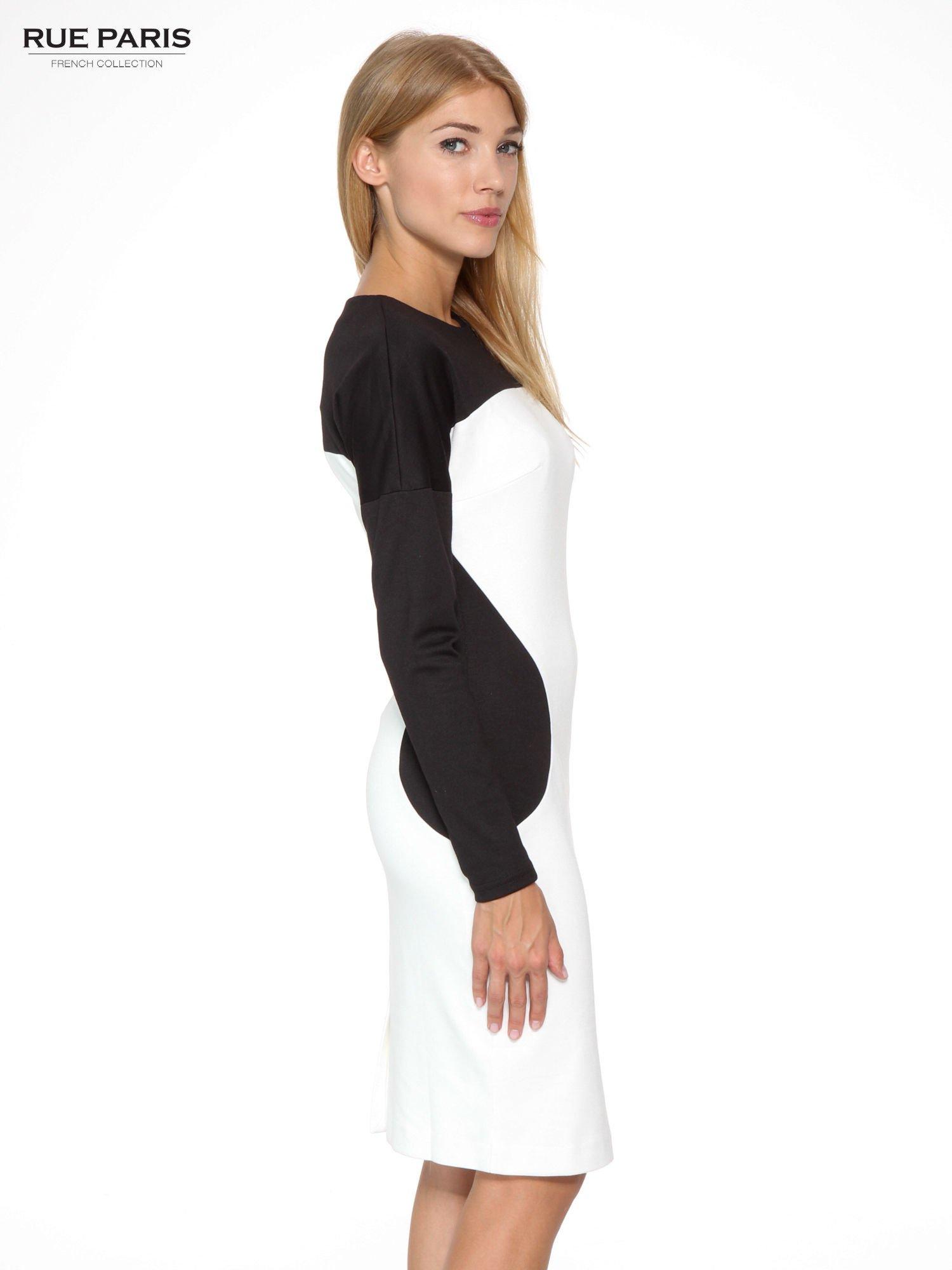 Ecru-czarna sukienka modułowa z zamkiem z tyłu                                  zdj.                                  3
