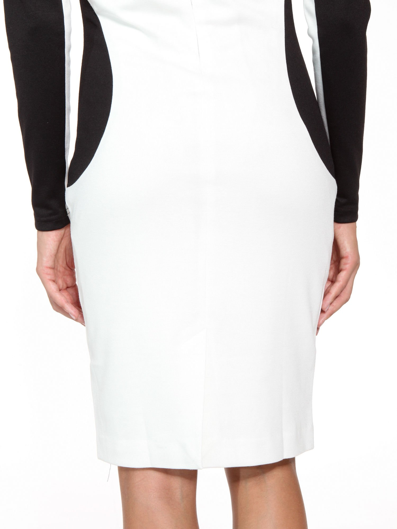 Ecru-czarna sukienka modułowa z zamkiem z tyłu                                  zdj.                                  9