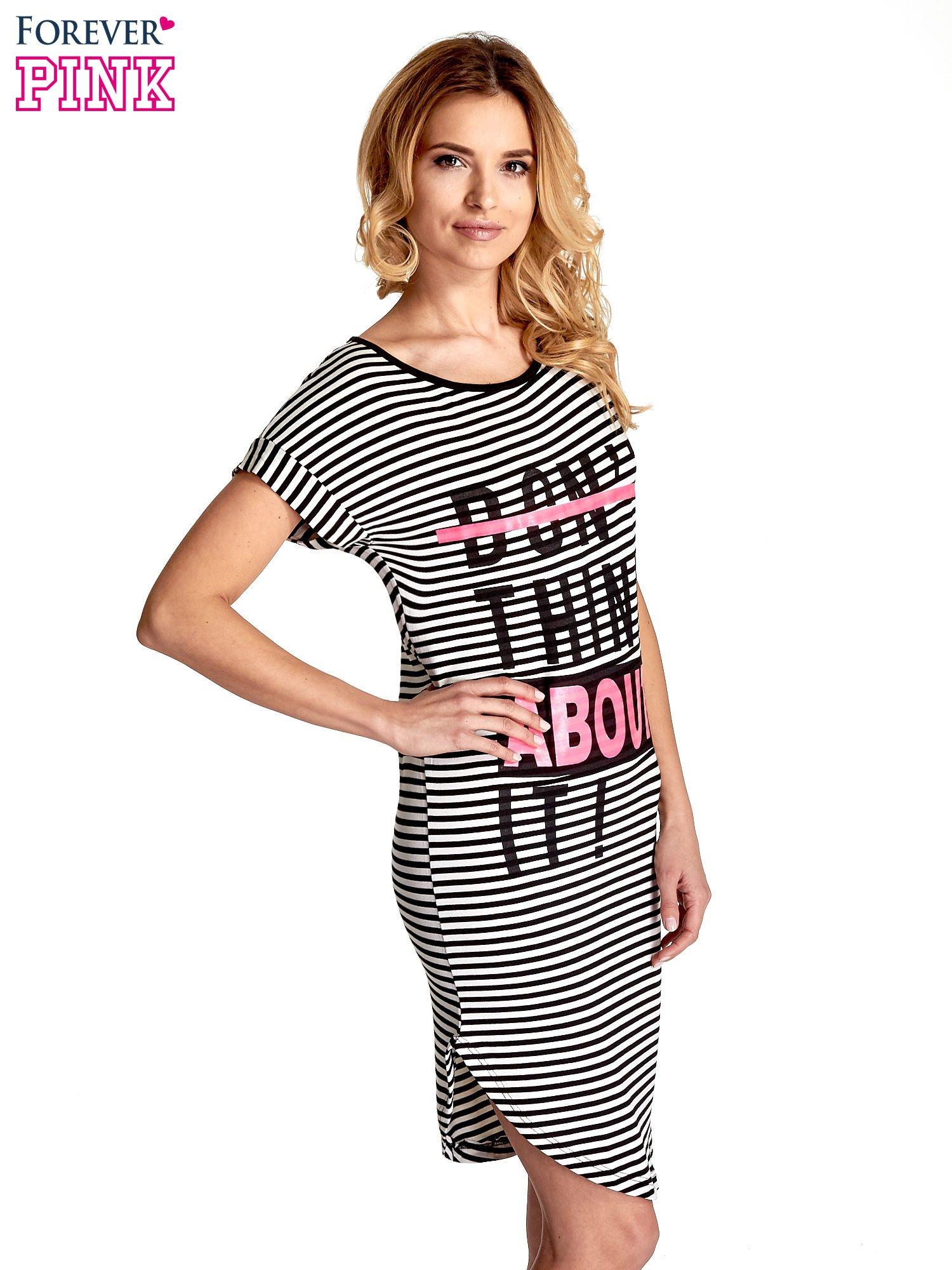 Ecru-czarna sukienka w paski z napisem I DON'T THINK ABOUT IT!                                  zdj.                                  3