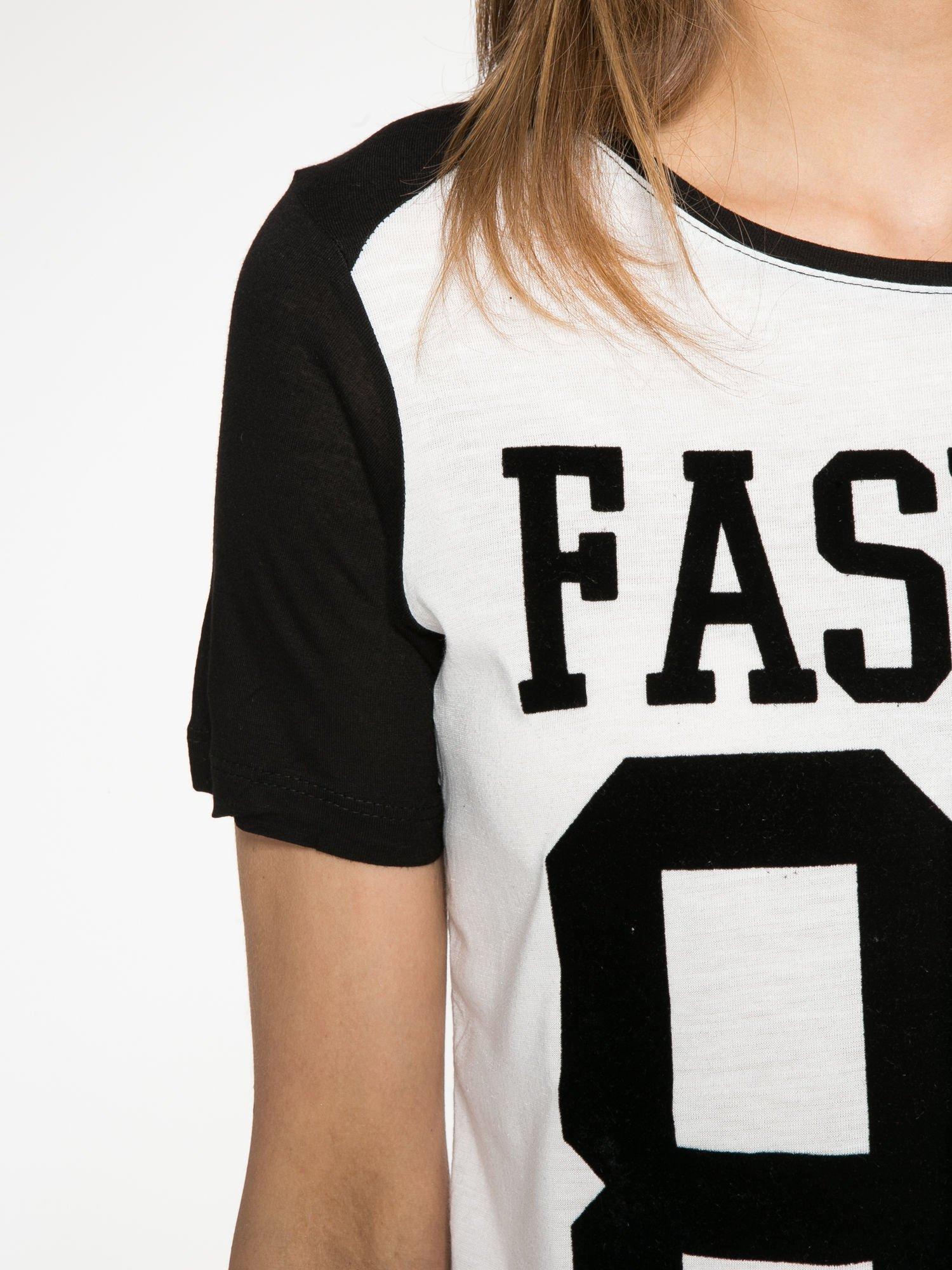 Ecru-czarny t-shirt z nadrukiem FASHION 88                                  zdj.                                  5