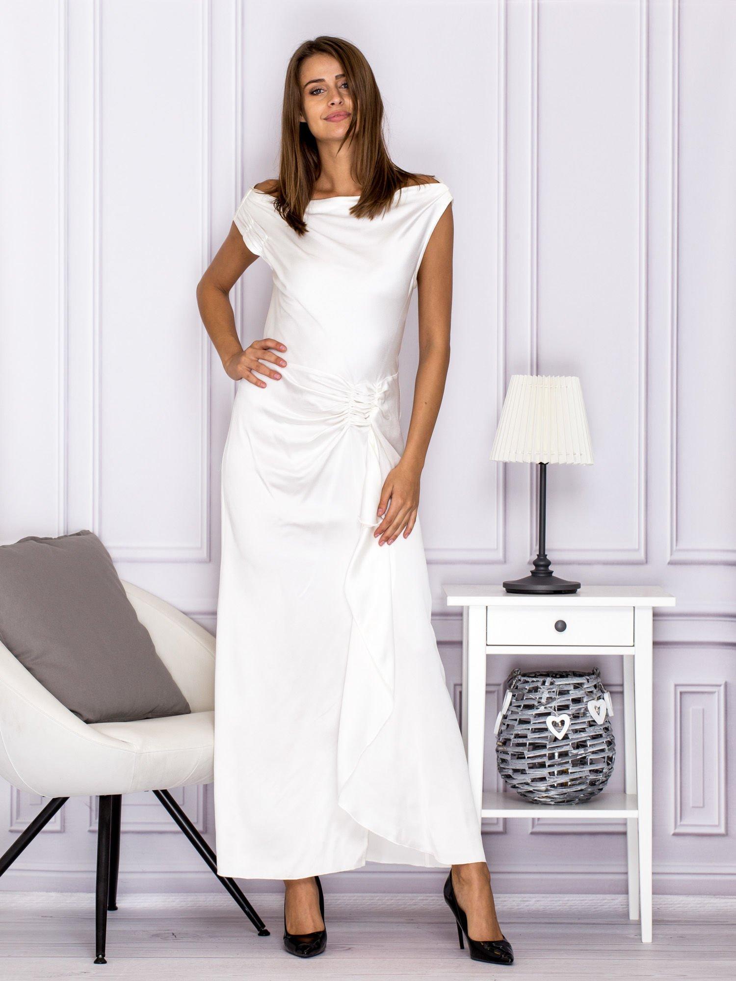 b568e80608 Ecru długa sukienka z drapowaniami - Sukienka wieczorowa - sklep ...