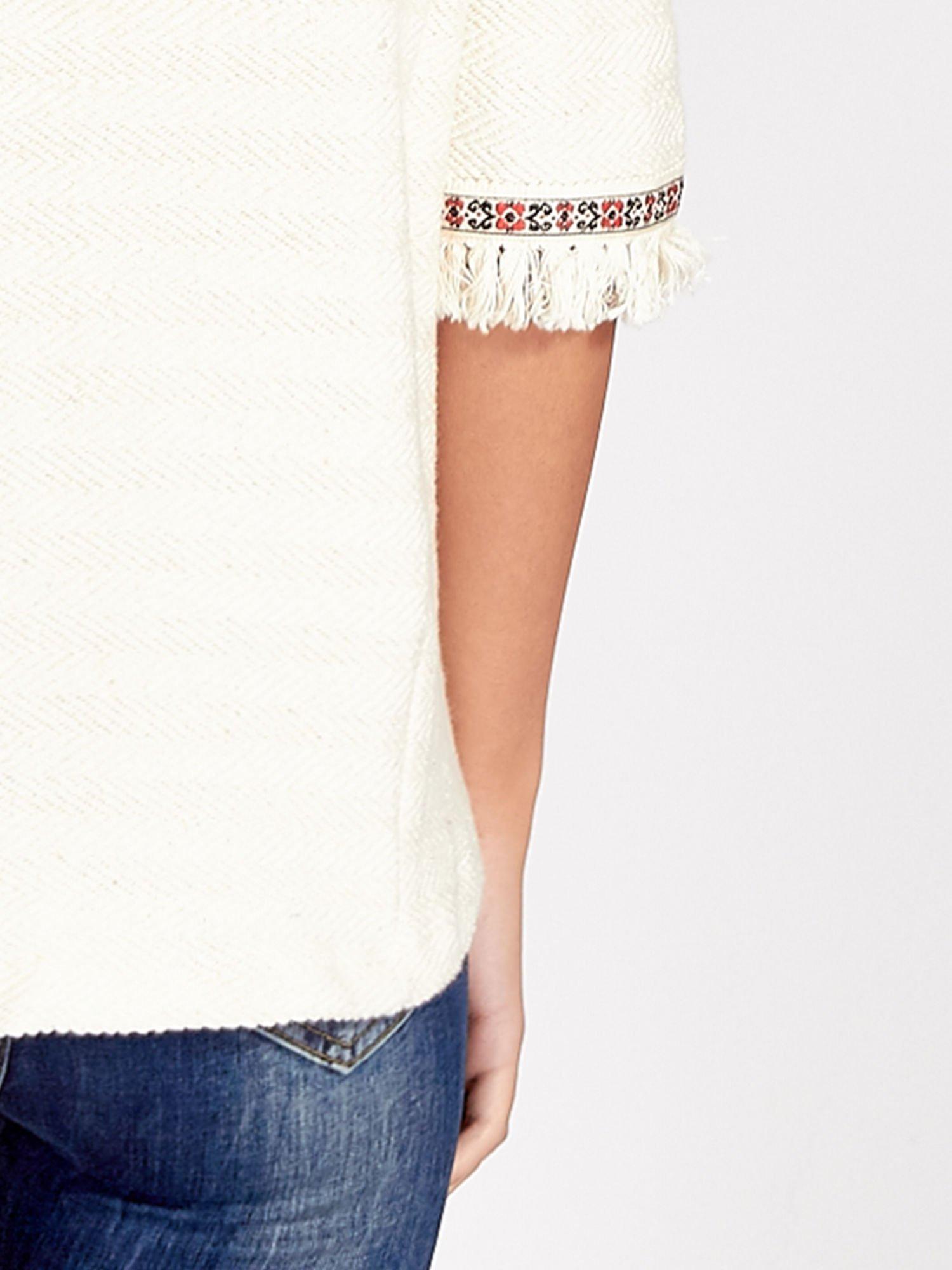 Ecru fakturowana bluza w stylu boho                                  zdj.                                  6