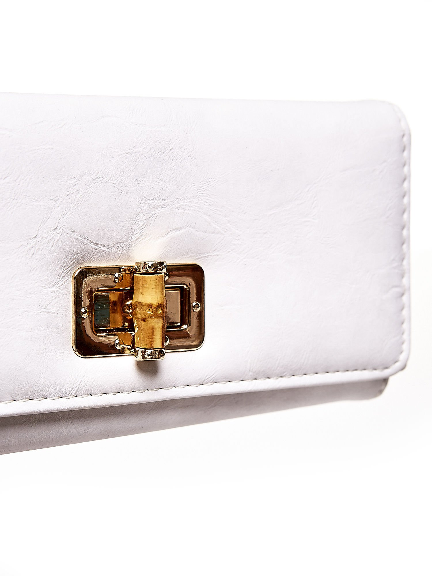 Ecru fakturowany portfel ze stylizowanym zapięciem                                   zdj.                                  6
