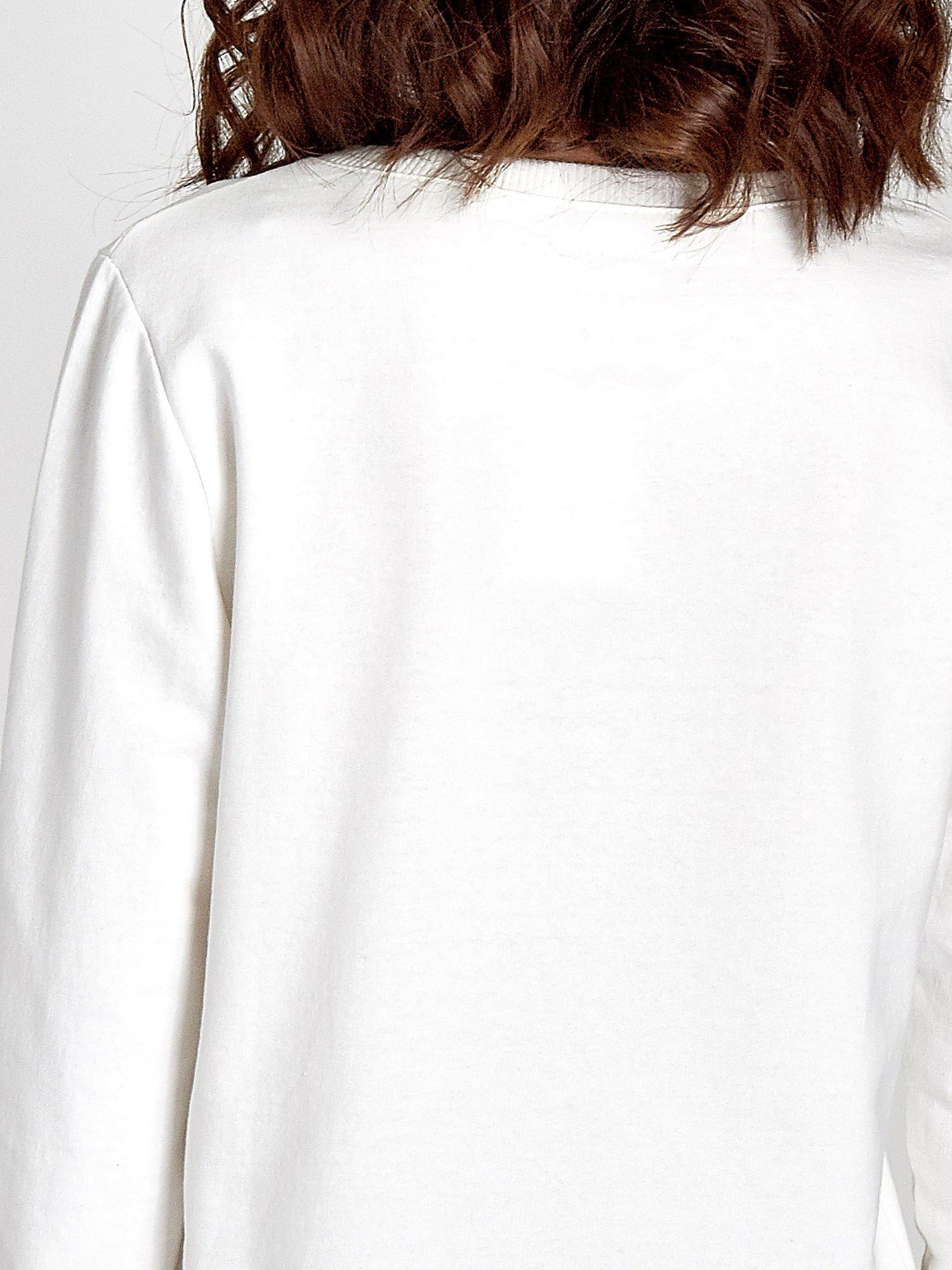 Ecru klasyczna bluza damska z napisem IN LIFE SIMPLE IS BEST                                  zdj.                                  6
