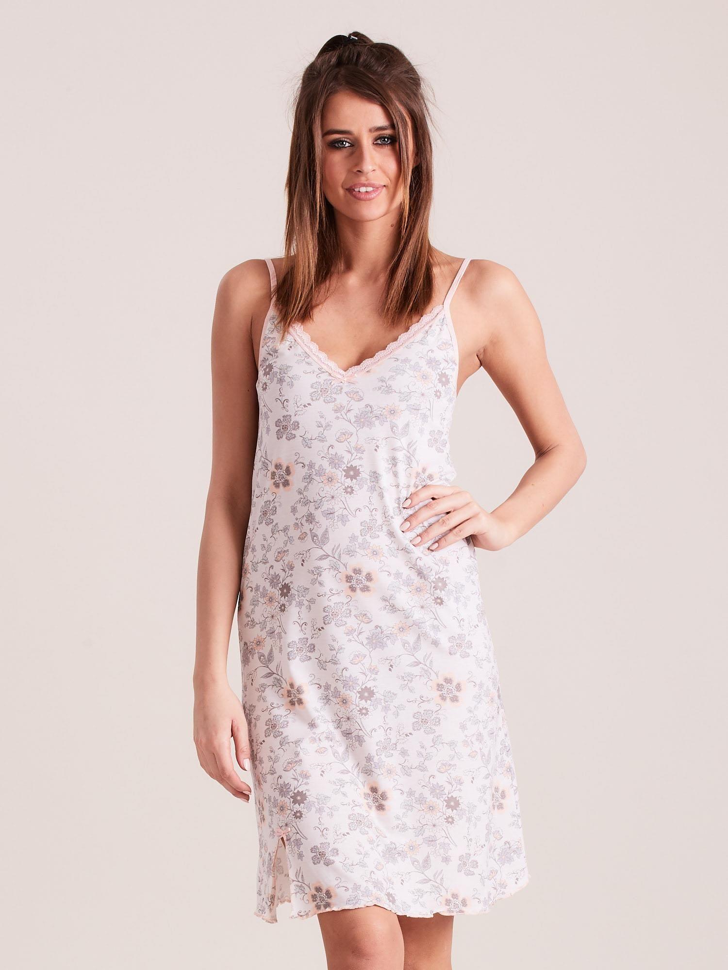 c7f89013b463ea Ecru koszula nocna w kwiaty - Bielizna piżama - sklep eButik.pl