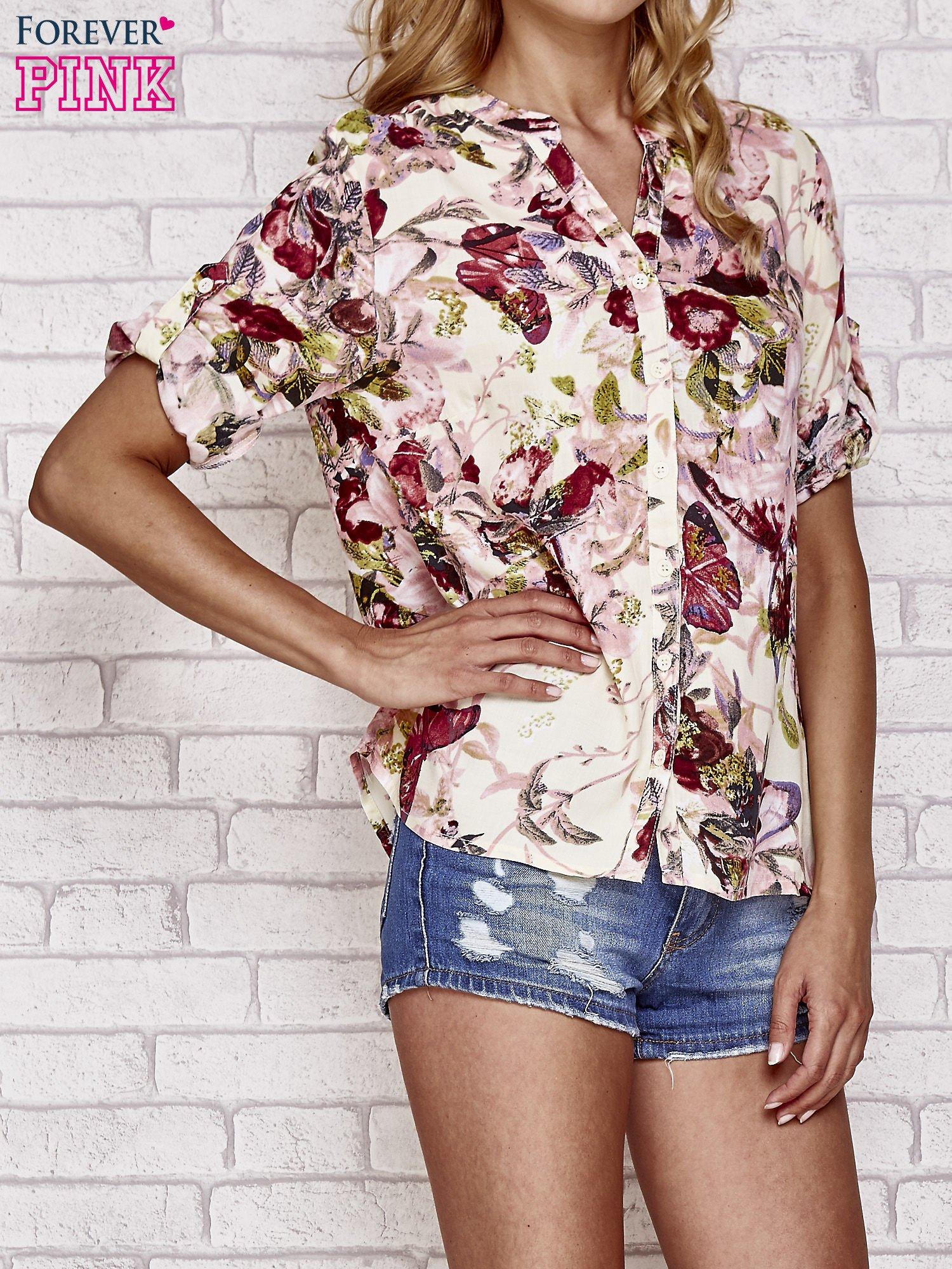 Ecru koszula z nadrukiem kwiatowym                                  zdj.                                  1