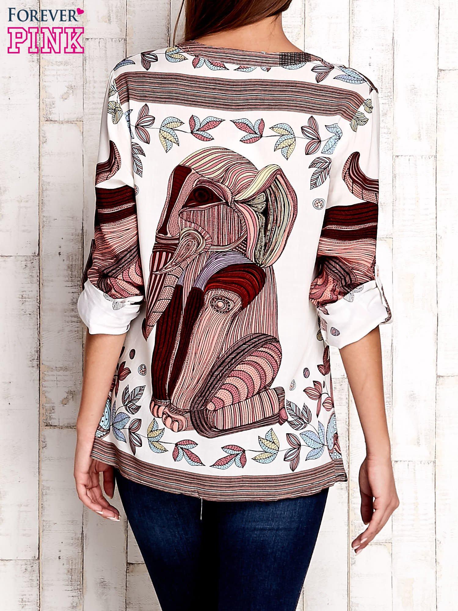 Ecru koszula z roślinnym nadrukiem                                  zdj.                                  2