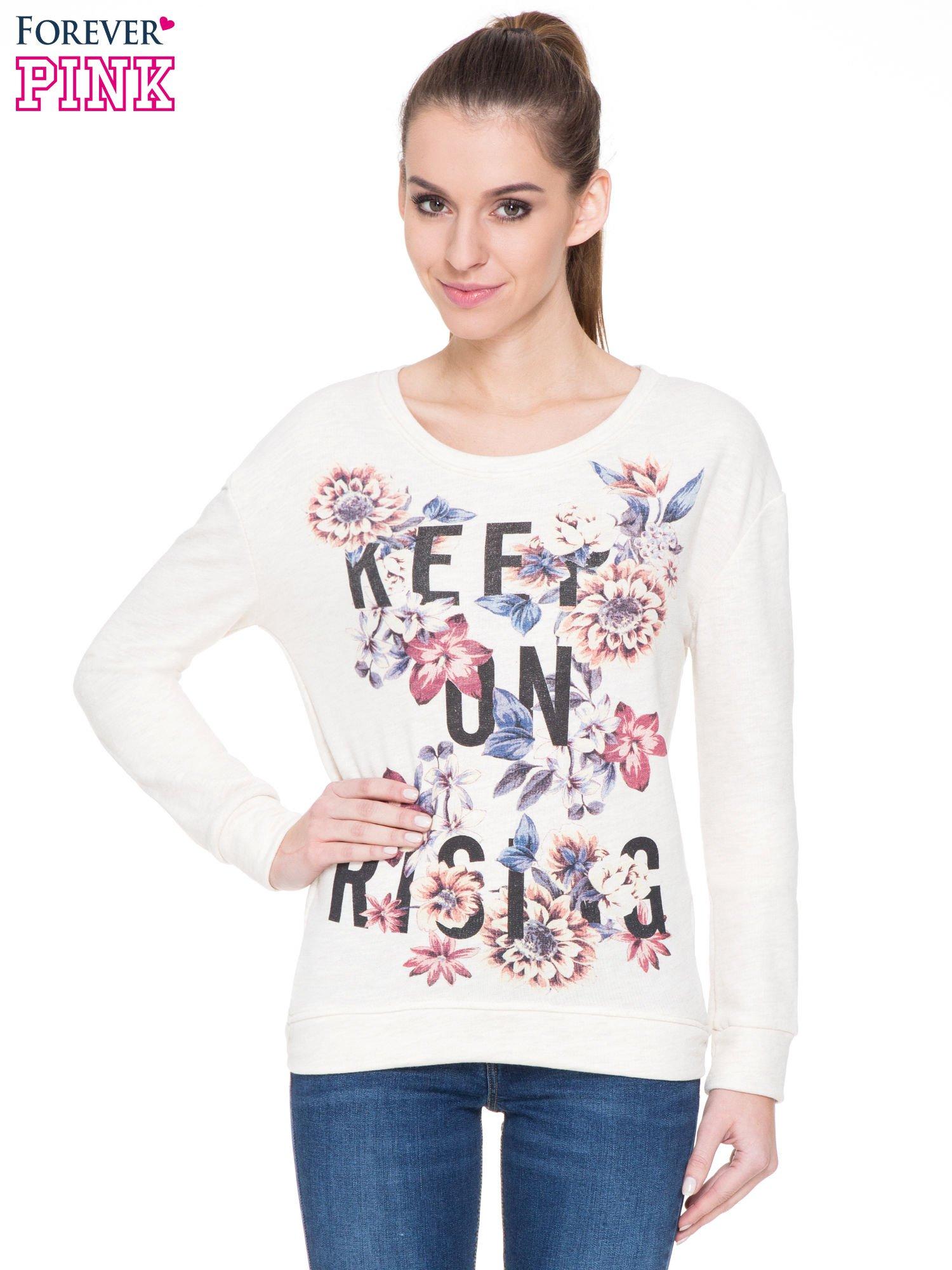 Ecru kwiatowa bluza z napisem KEEP ON RISING                                  zdj.                                  1