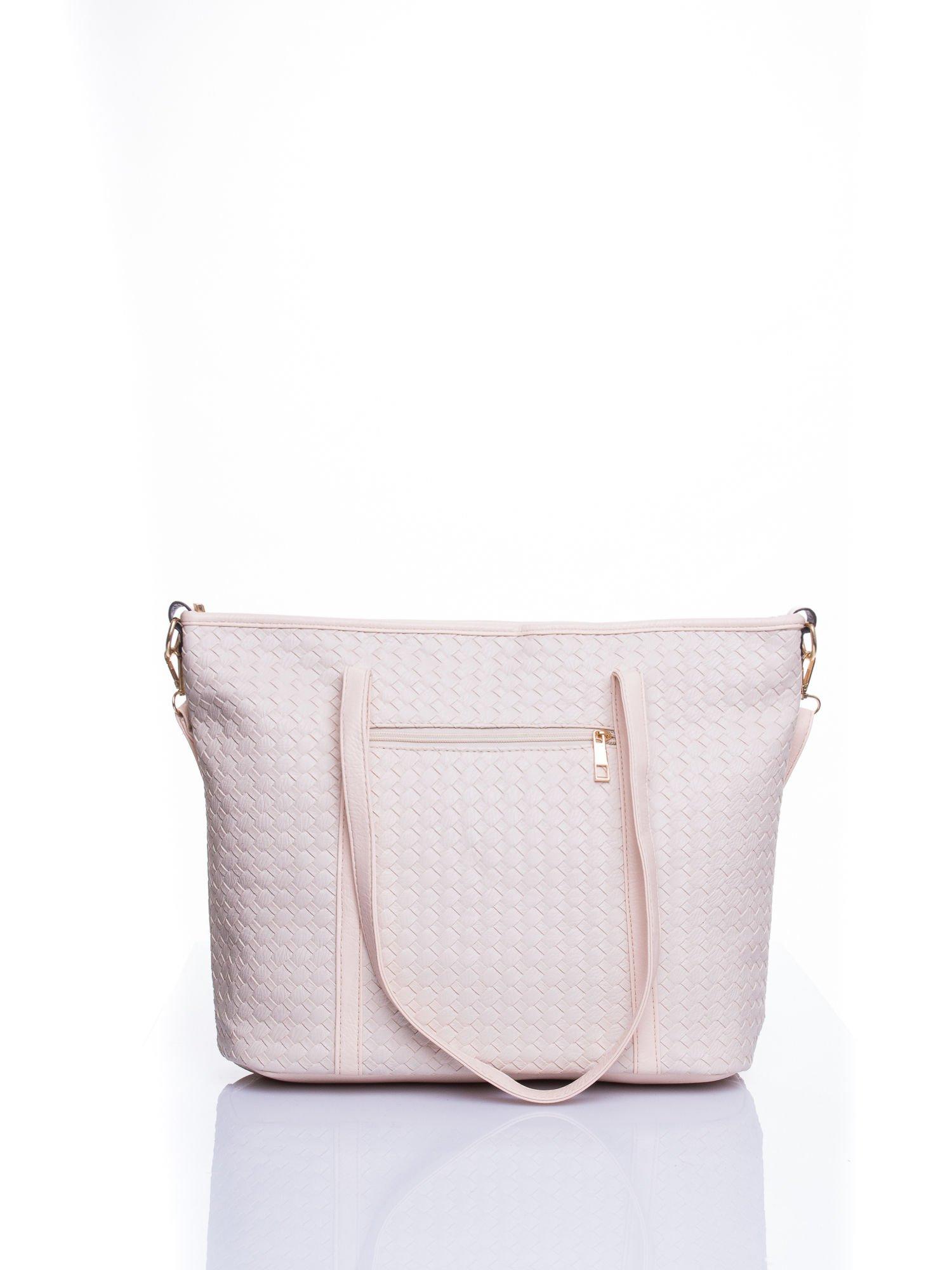 Ecru pleciona torba shopper bag ze złotym detalem                                  zdj.                                  3