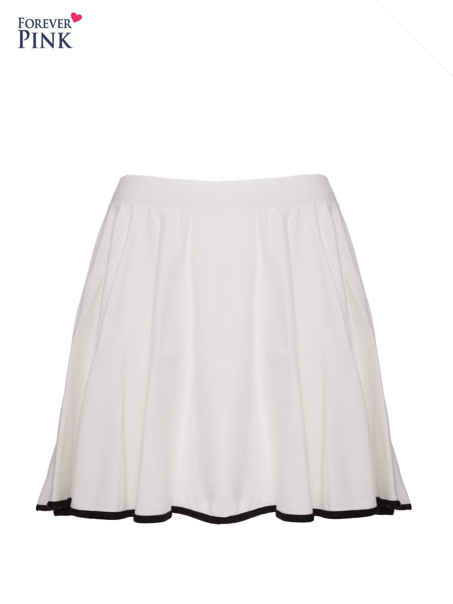 Ecru spódnica szyta z koła z kontrastową lamówką na dole                                  zdj.                                  1