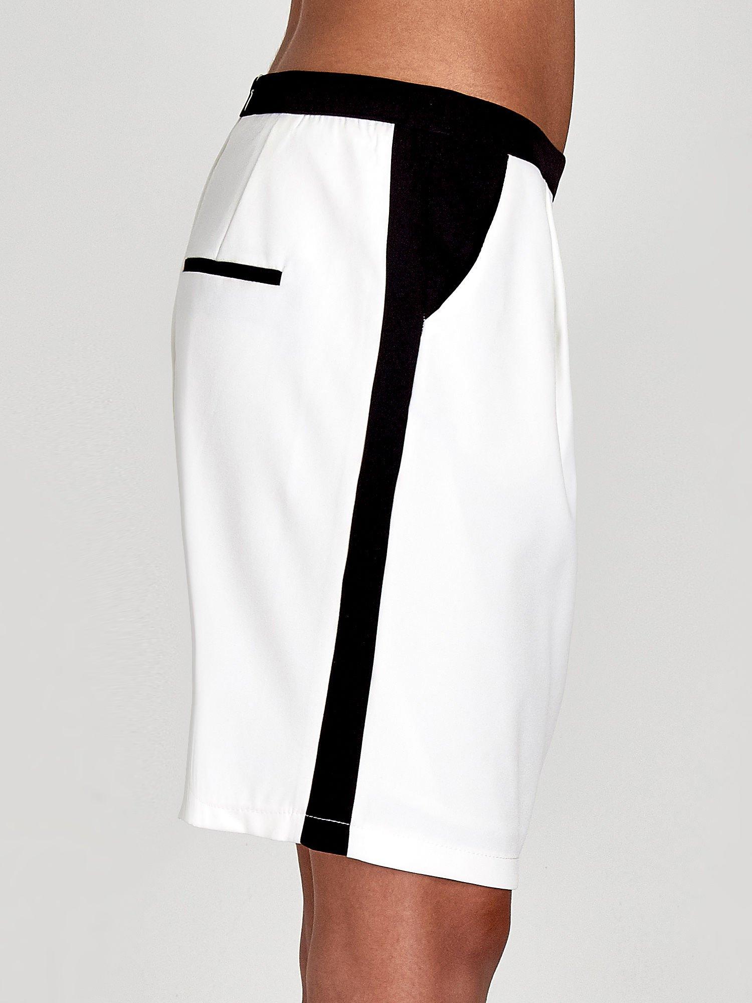 Ecru spódnica two tone z kontrastowymi czarnymi pasami                                  zdj.                                  6