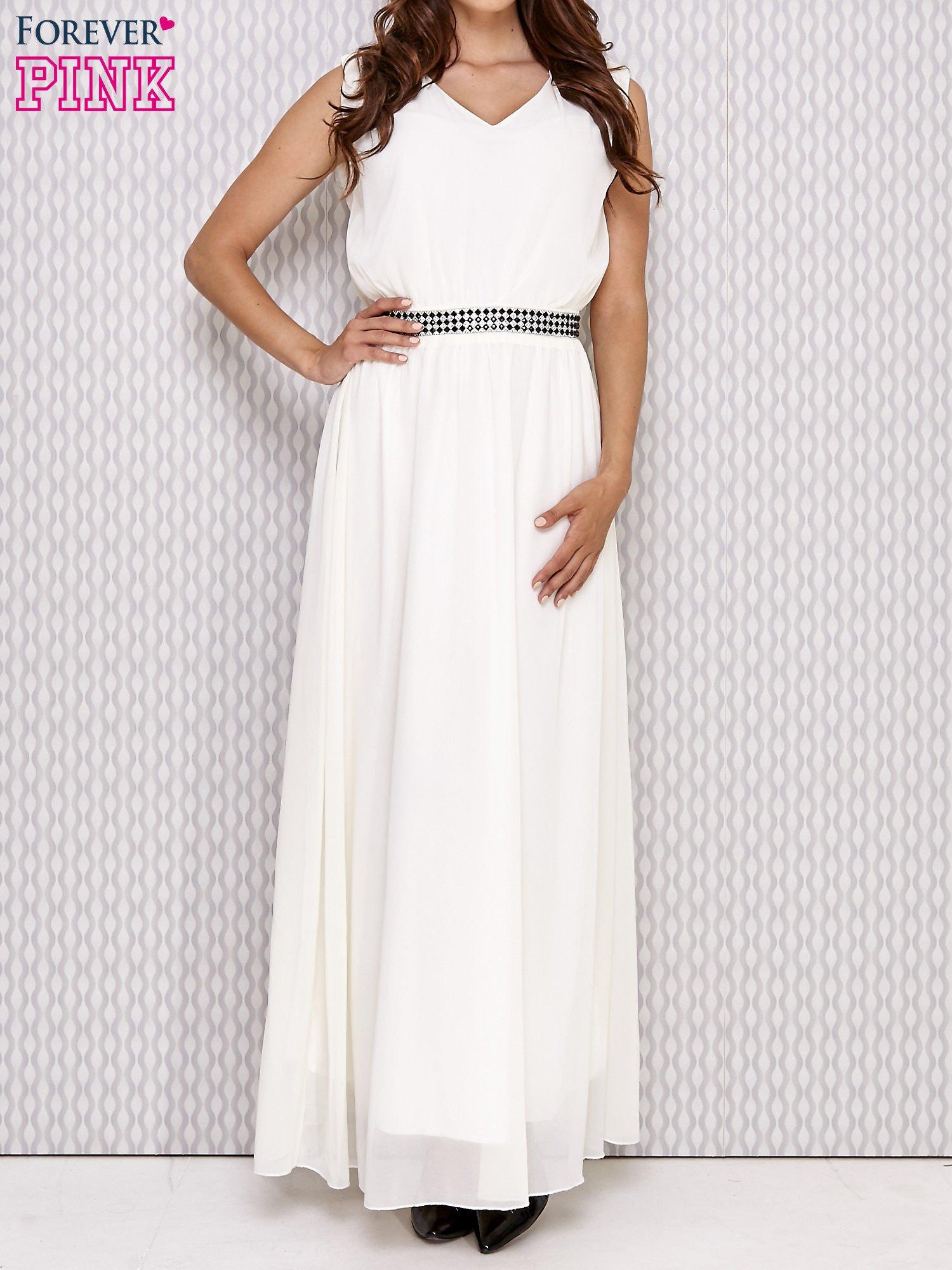 Ecru sukienka maxi z biżuteryjnym pasem                                  zdj.                                  1