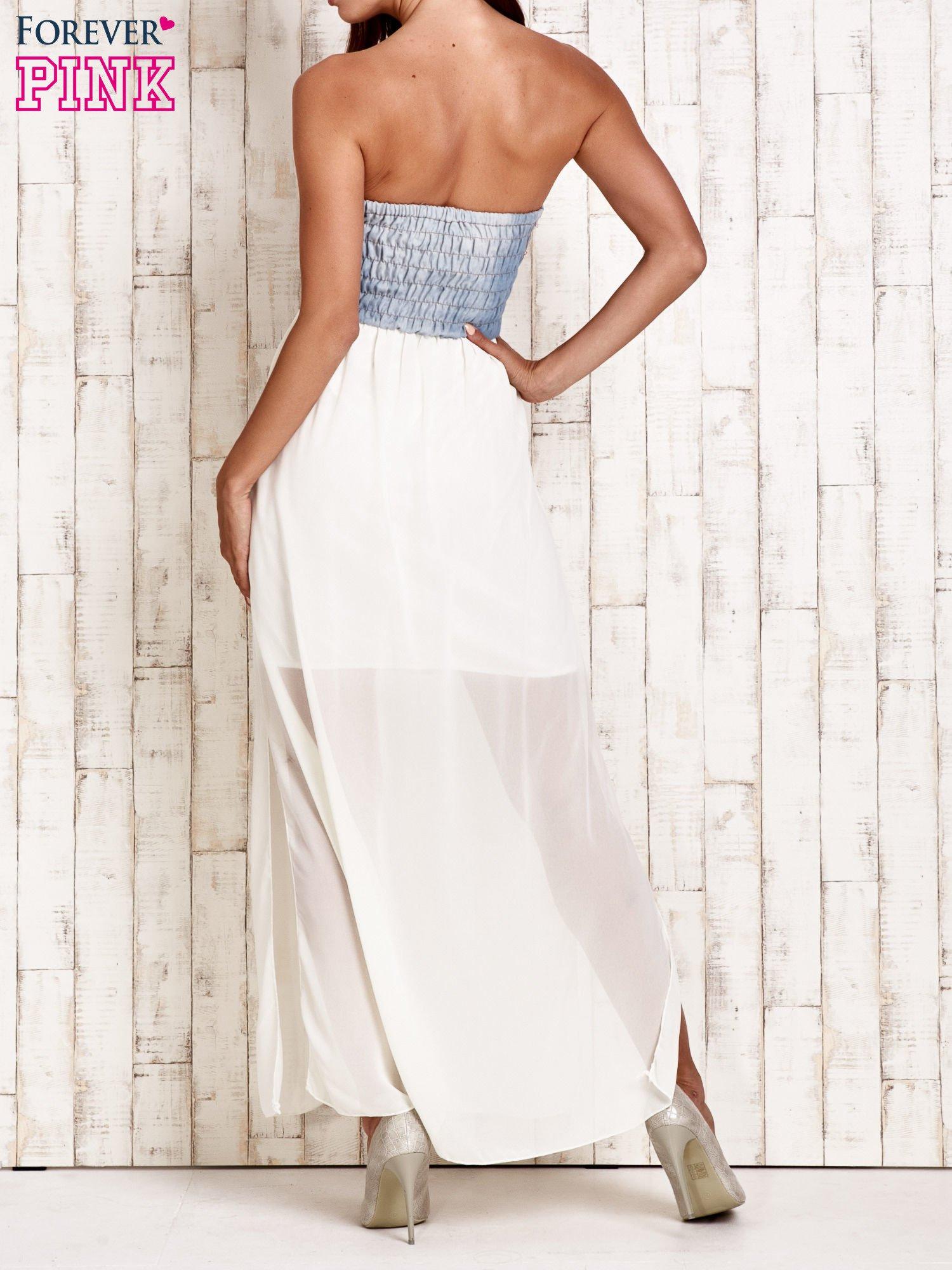 Ecru sukienka maxi z gorsetem z denimu                                  zdj.                                  2