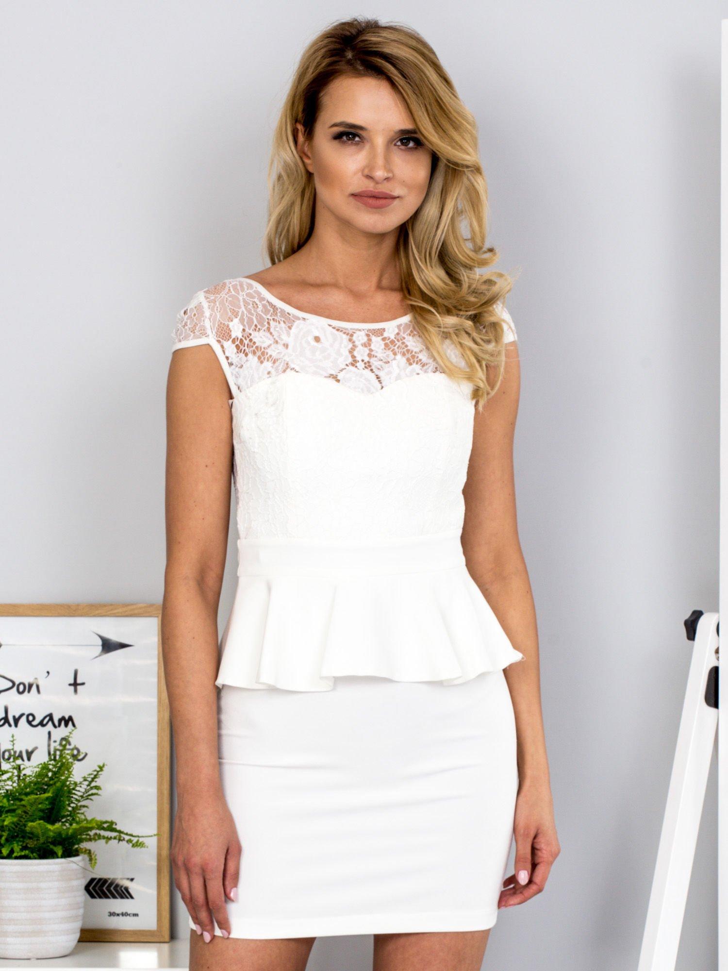 eb5aca5058 Ecru sukienka z baskinką - Sukienka koktajlowa - sklep eButik.pl