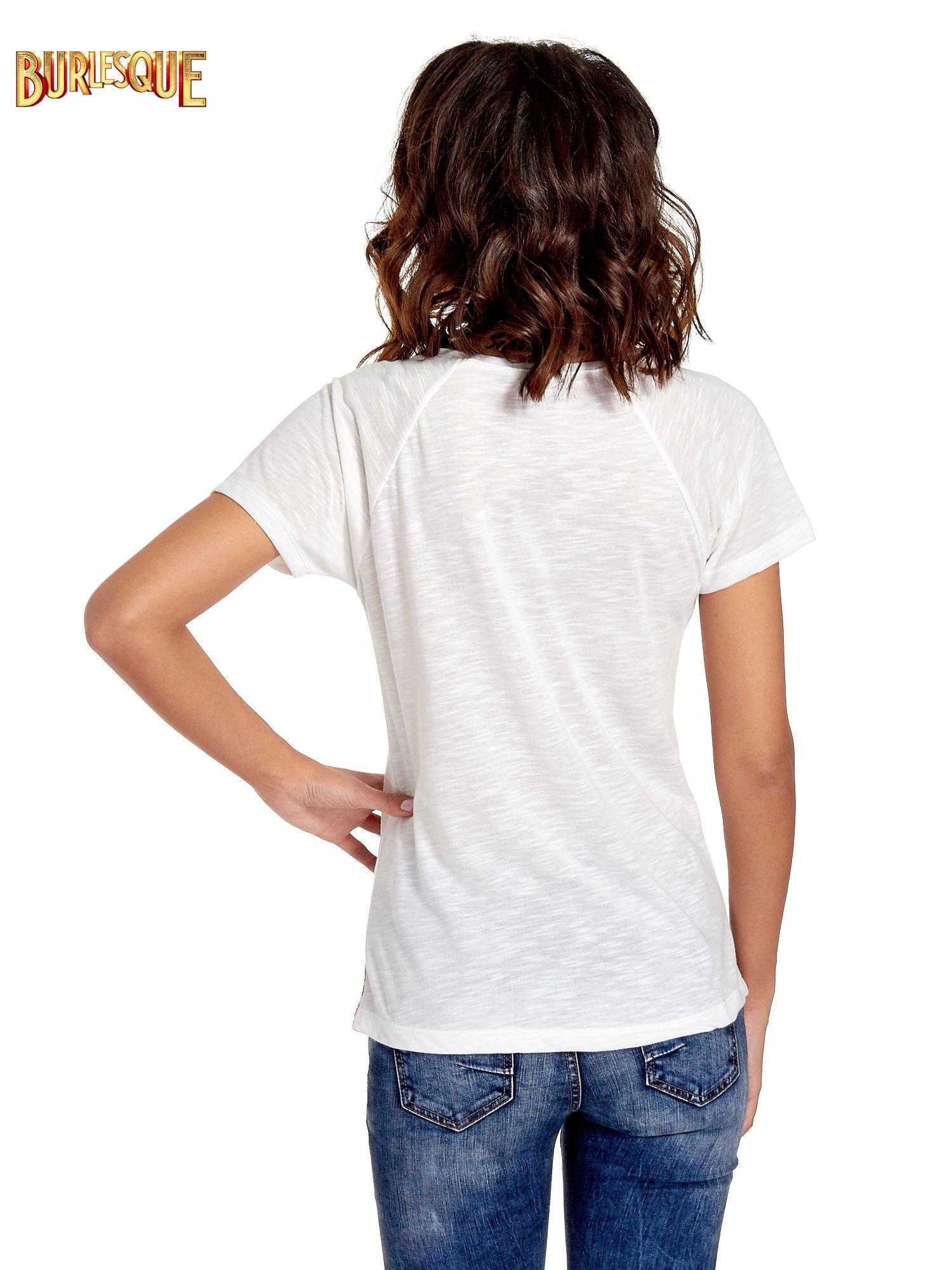 Ecru t-shirt z kwiatowym nadrukiem i napisem UNREAL                                  zdj.                                  4