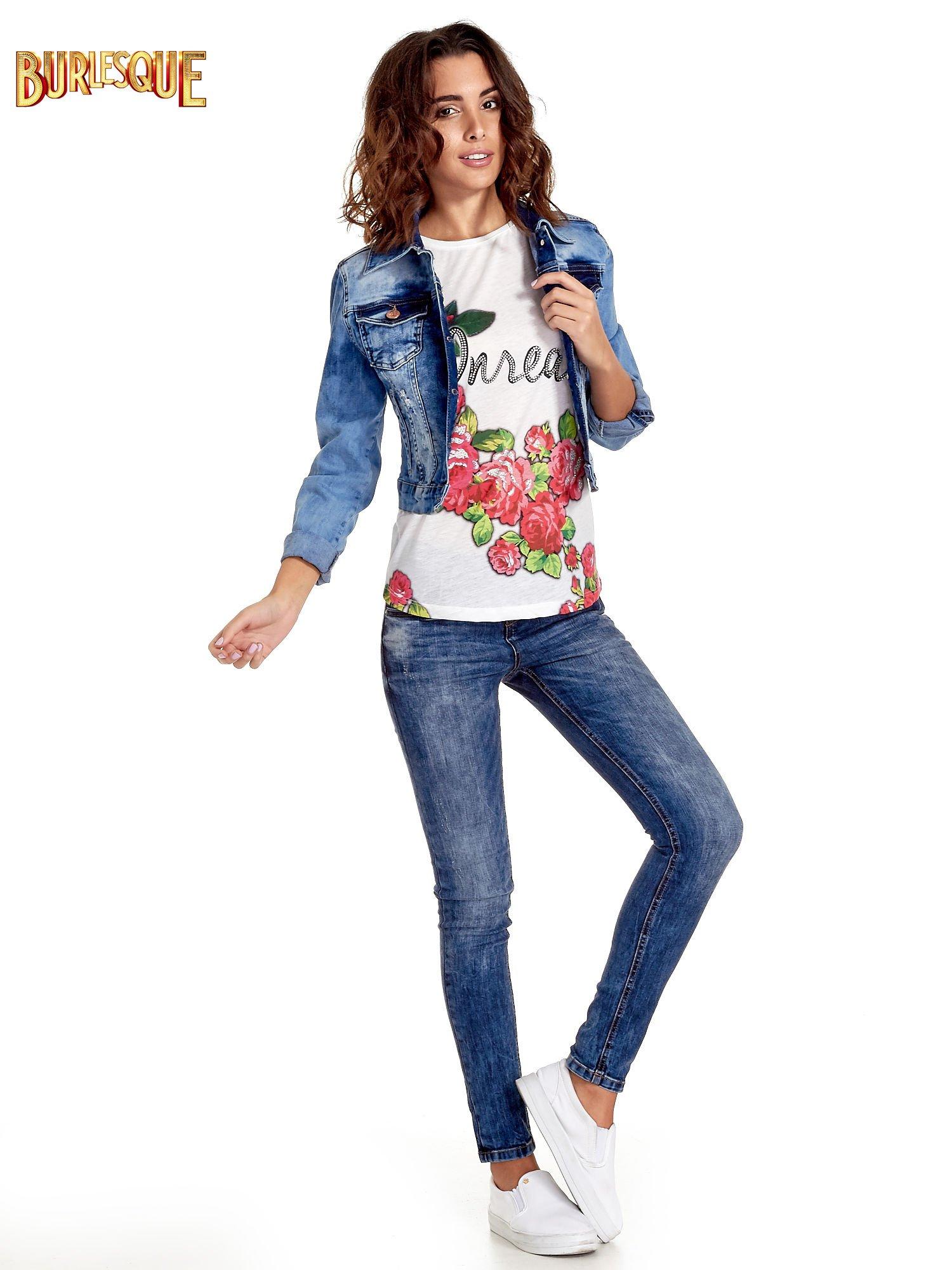 Ecru t-shirt z kwiatowym nadrukiem i napisem UNREAL                                  zdj.                                  2