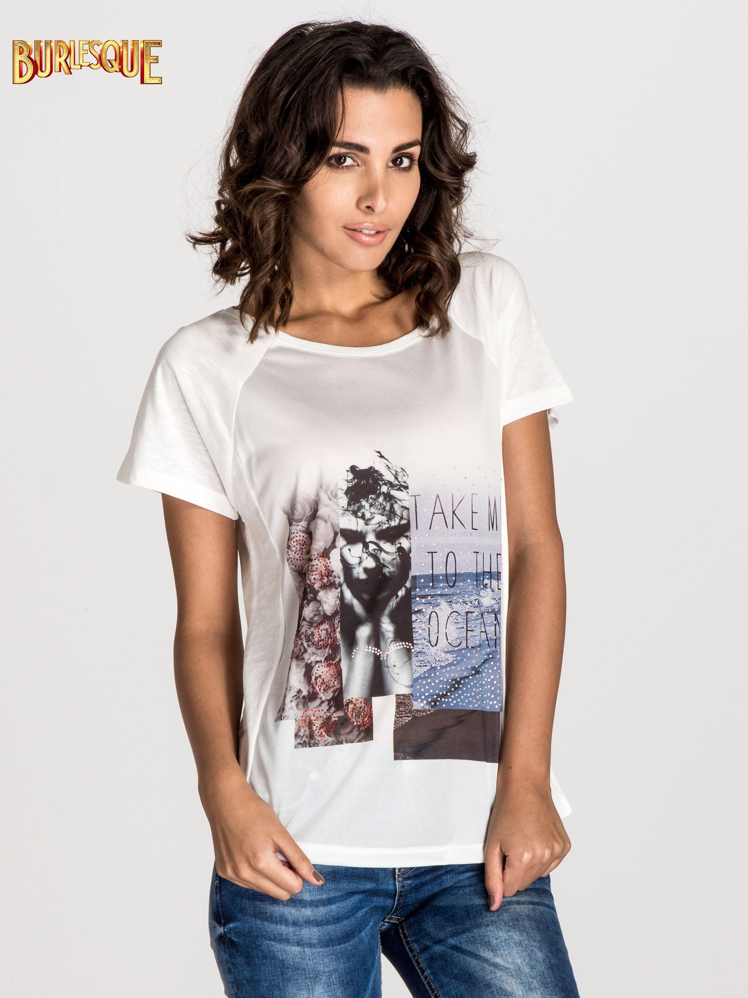 Ecru t-shirt z nadrukiem TAKE ME TO THE OCEAN z dżetami                                  zdj.                                  1
