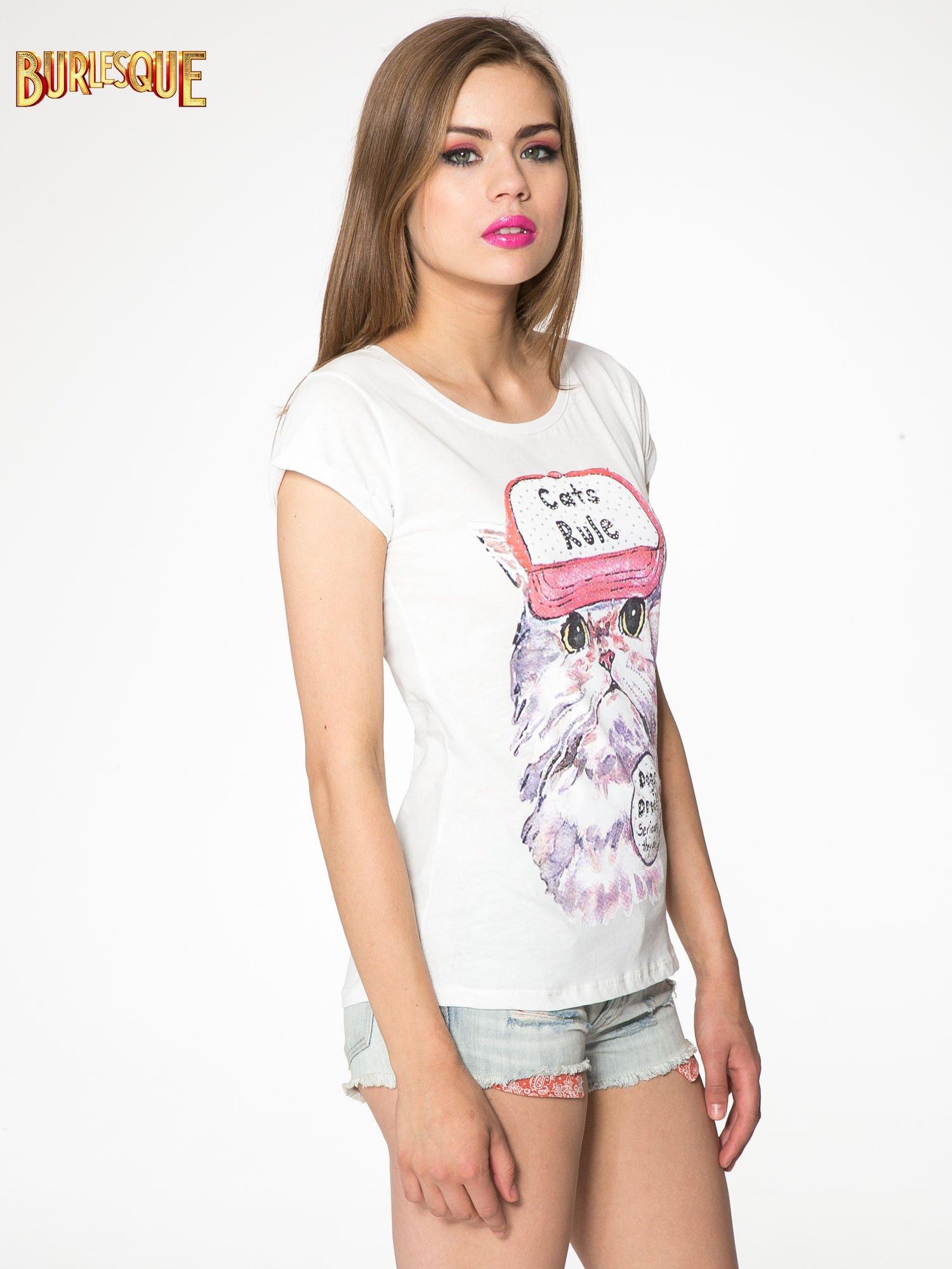 Ecru t-shirt z nadrukiem kota i napisem CATS RULE                                  zdj.                                  3