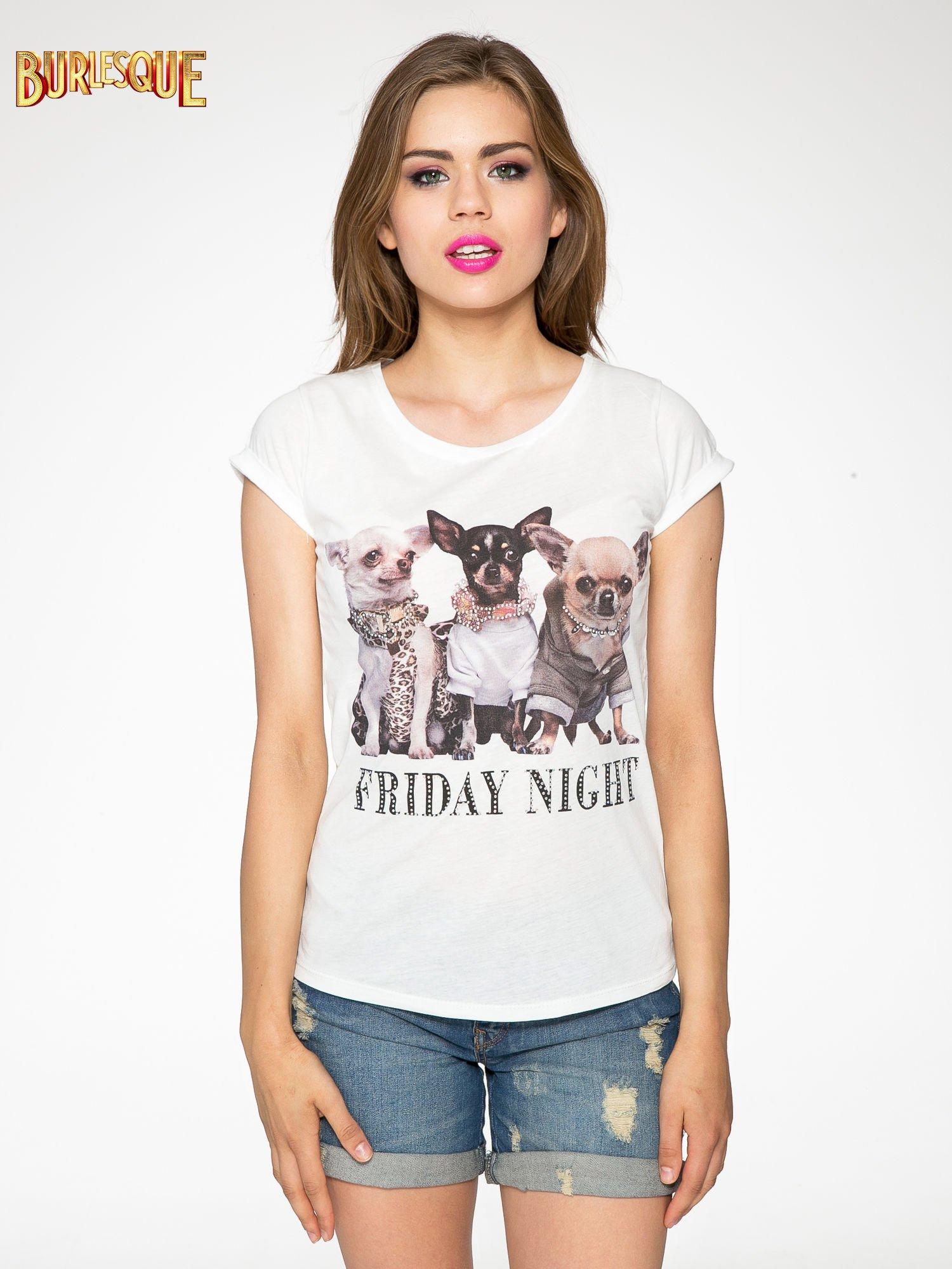Ecru t-shirt z nadrukiem szczeniąt                                  zdj.                                  11