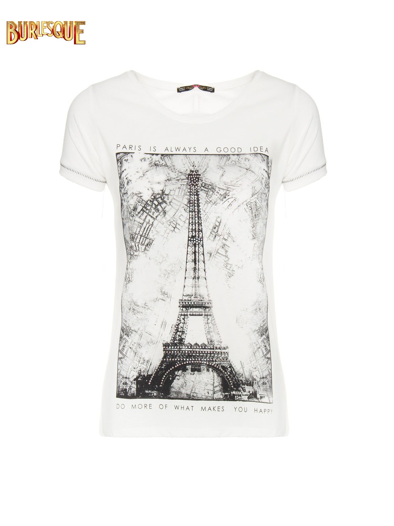 Ecru t-shirt z nadrukiem wieży Eiffla                                  zdj.                                  1