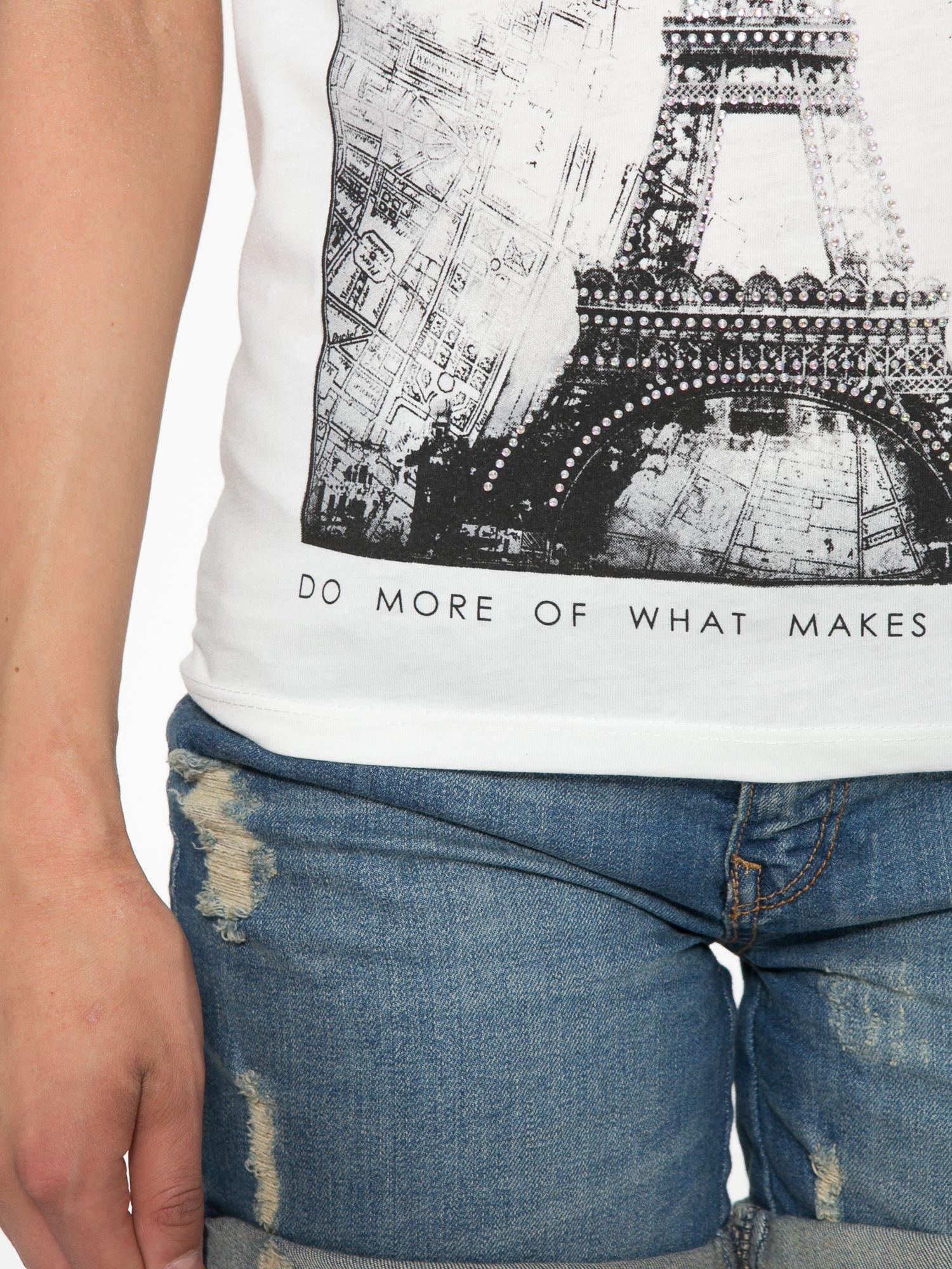 Ecru t-shirt z nadrukiem wieży Eiffla                                  zdj.                                  6