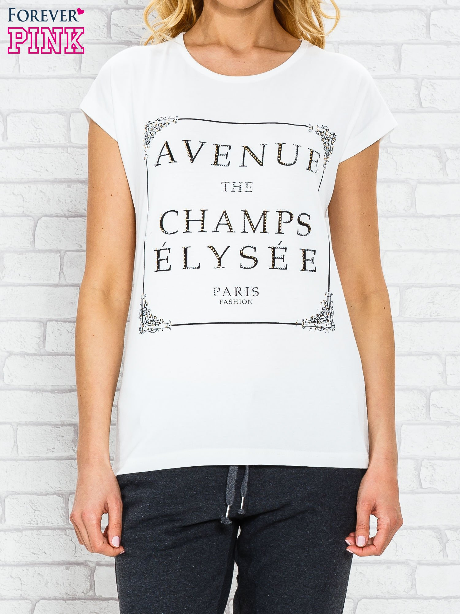 Ecru t-shirt z napisem AVENUE THE CHAMPS ÉLYSÉE                                  zdj.                                  1