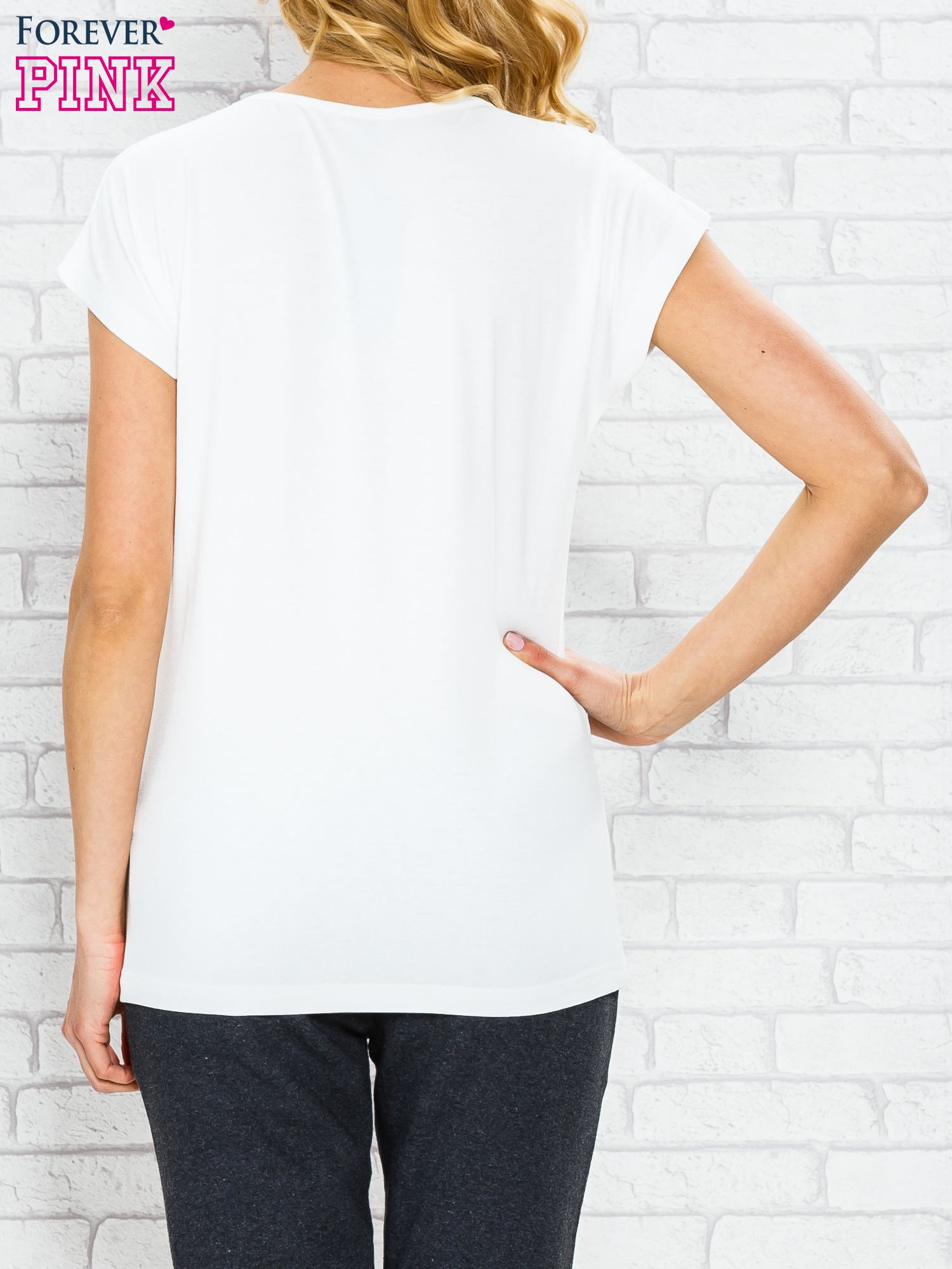 Ecru t-shirt z napisem AVENUE THE CHAMPS ÉLYSÉE                                  zdj.                                  2