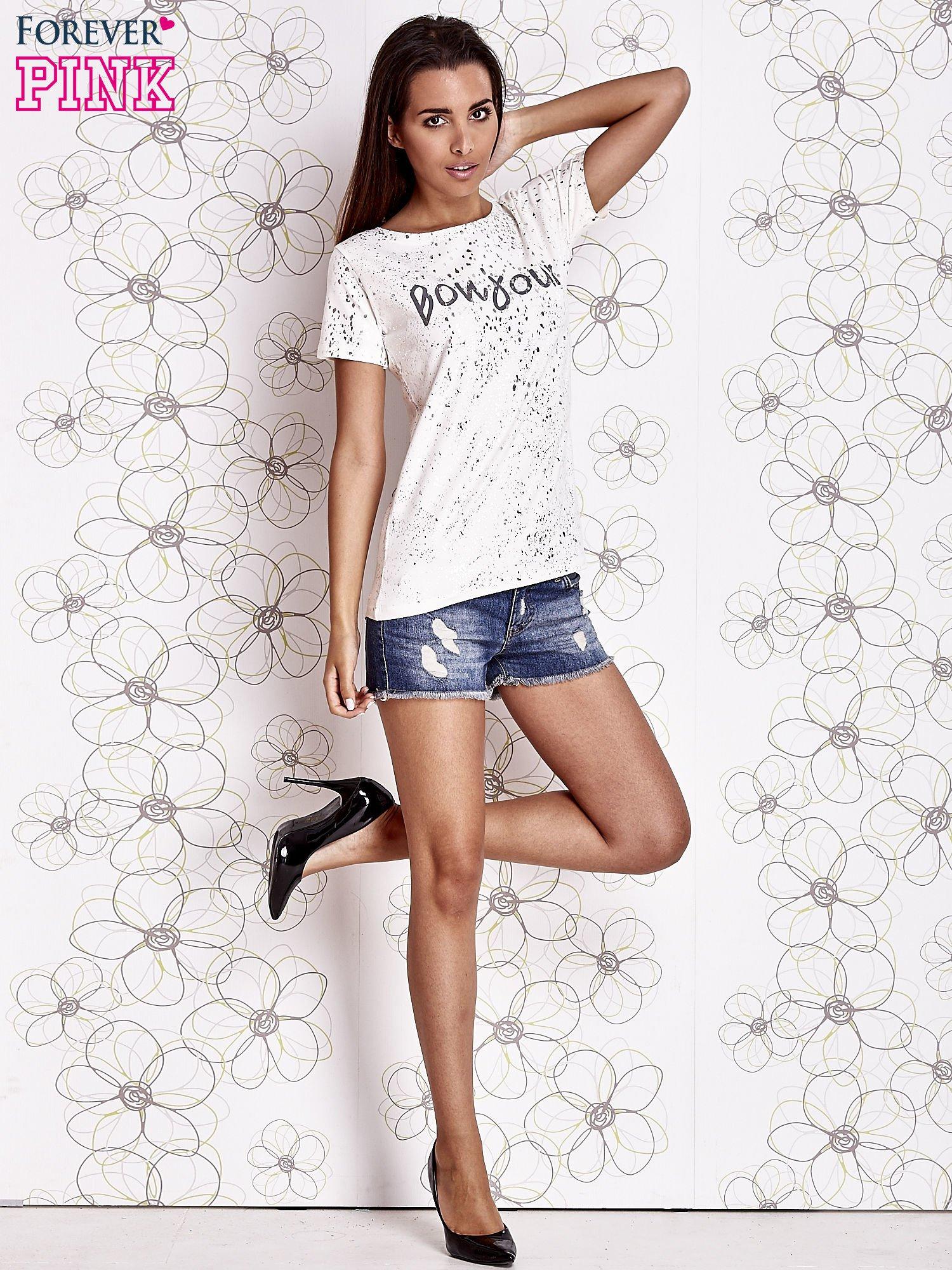 Ecru t-shirt z napisem BONJOUR                                  zdj.                                  2
