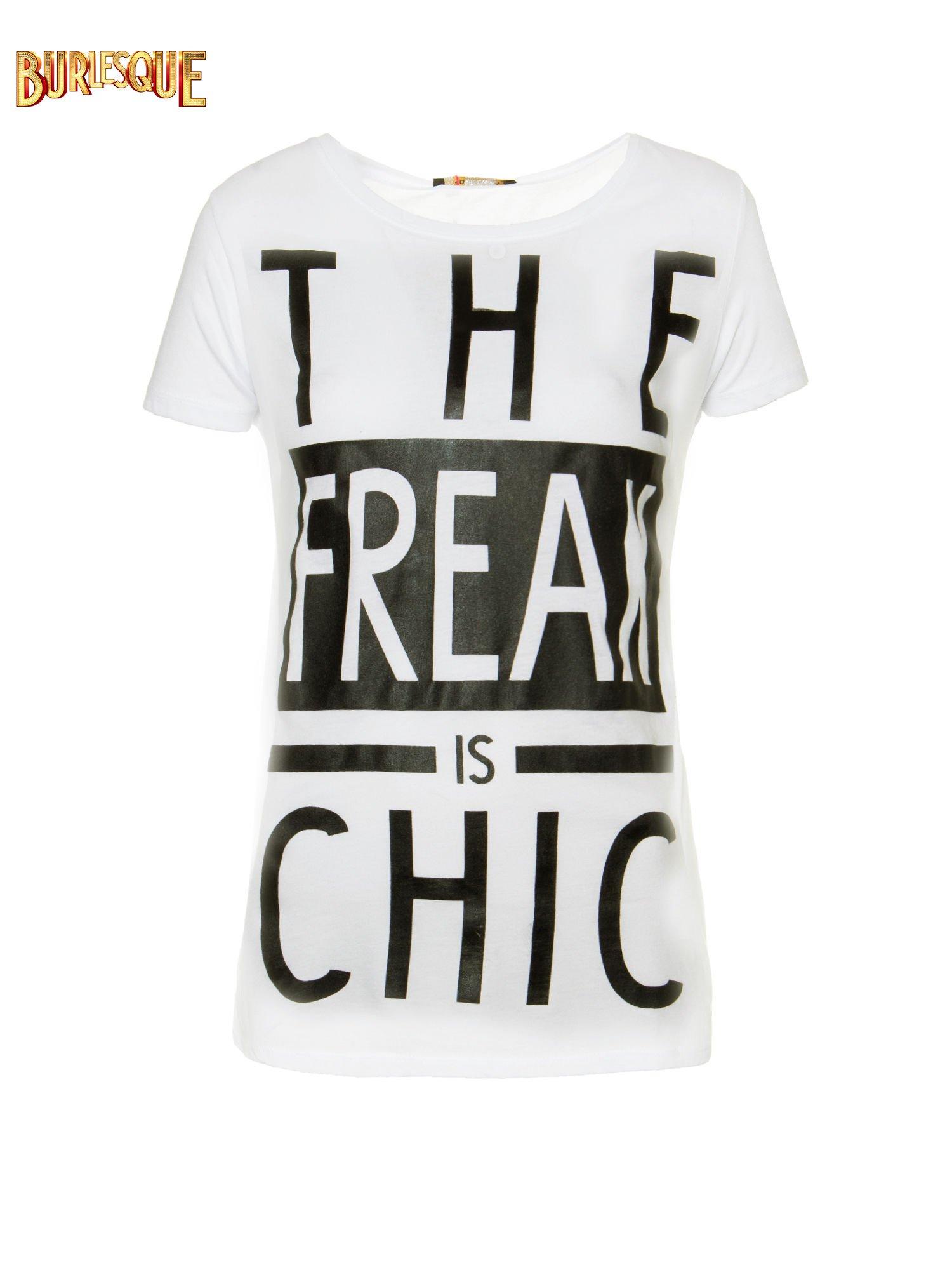Ecru t-shirt z napisem THE FREAK IS CHIC                                  zdj.                                  1