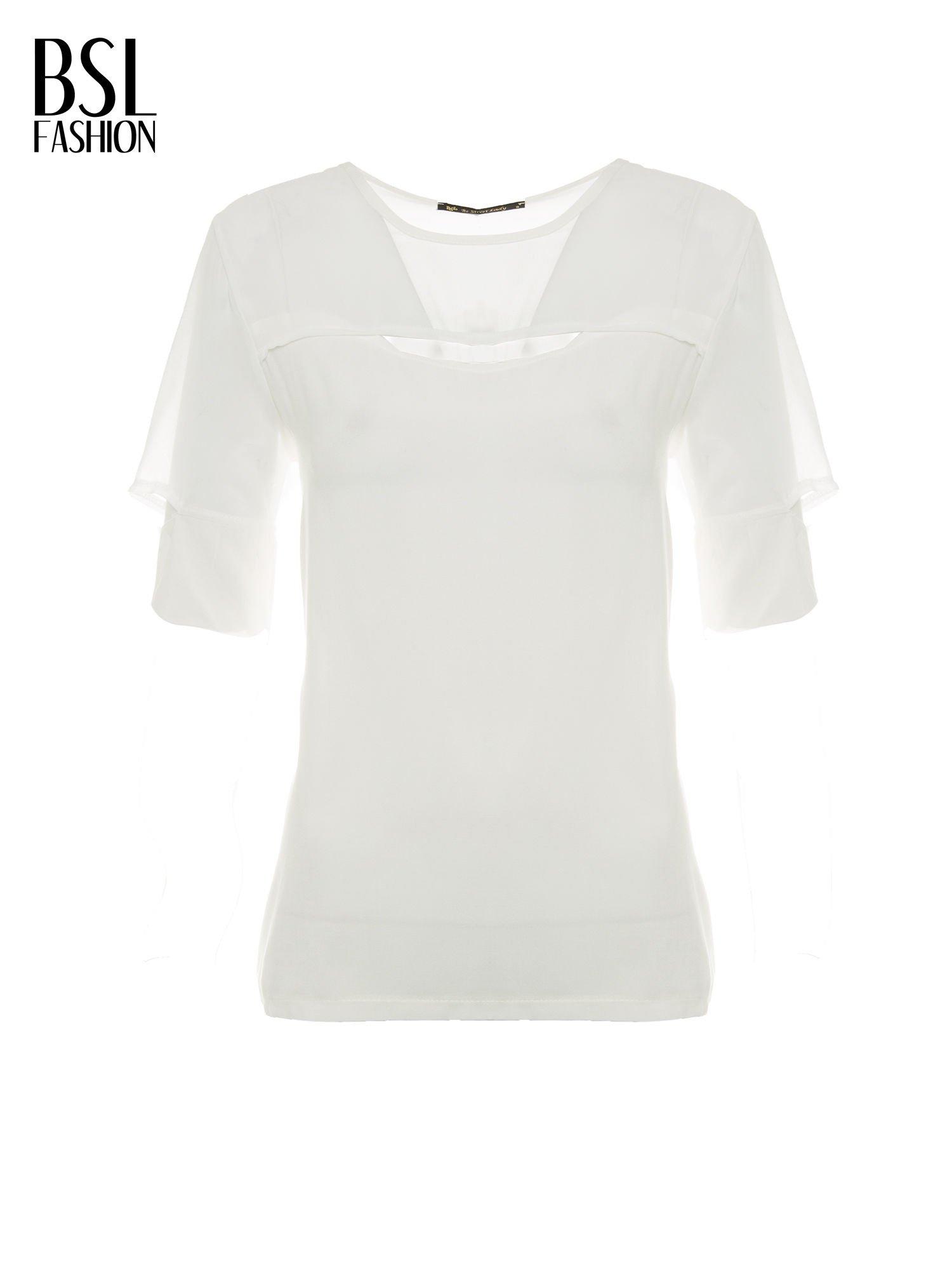 Ecru t-shirt z siateczką i rękawami typu cut out shoulder                                  zdj.                                  2