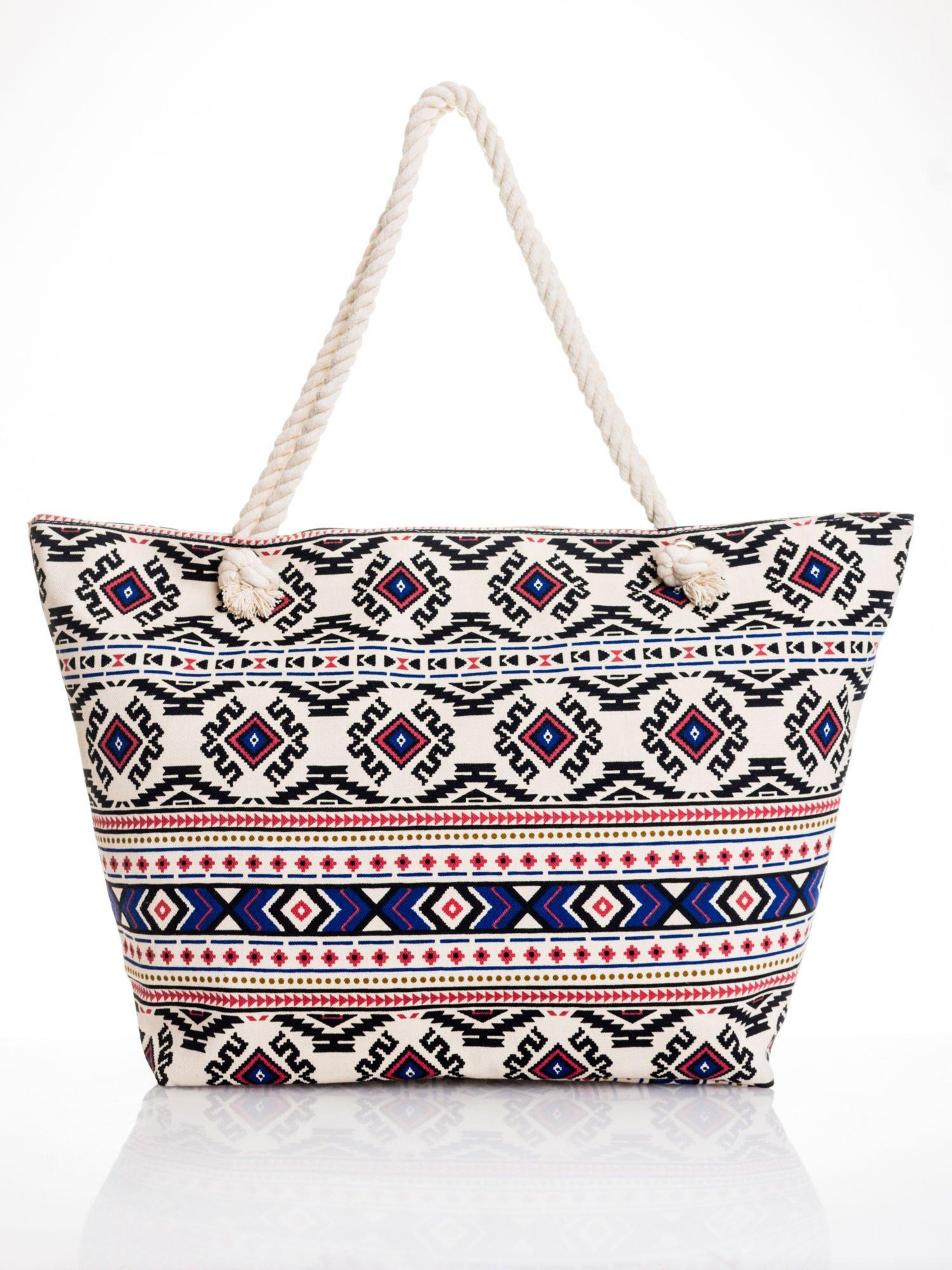 Ecru torba plażowa w azteckie wzory                                  zdj.                                  5