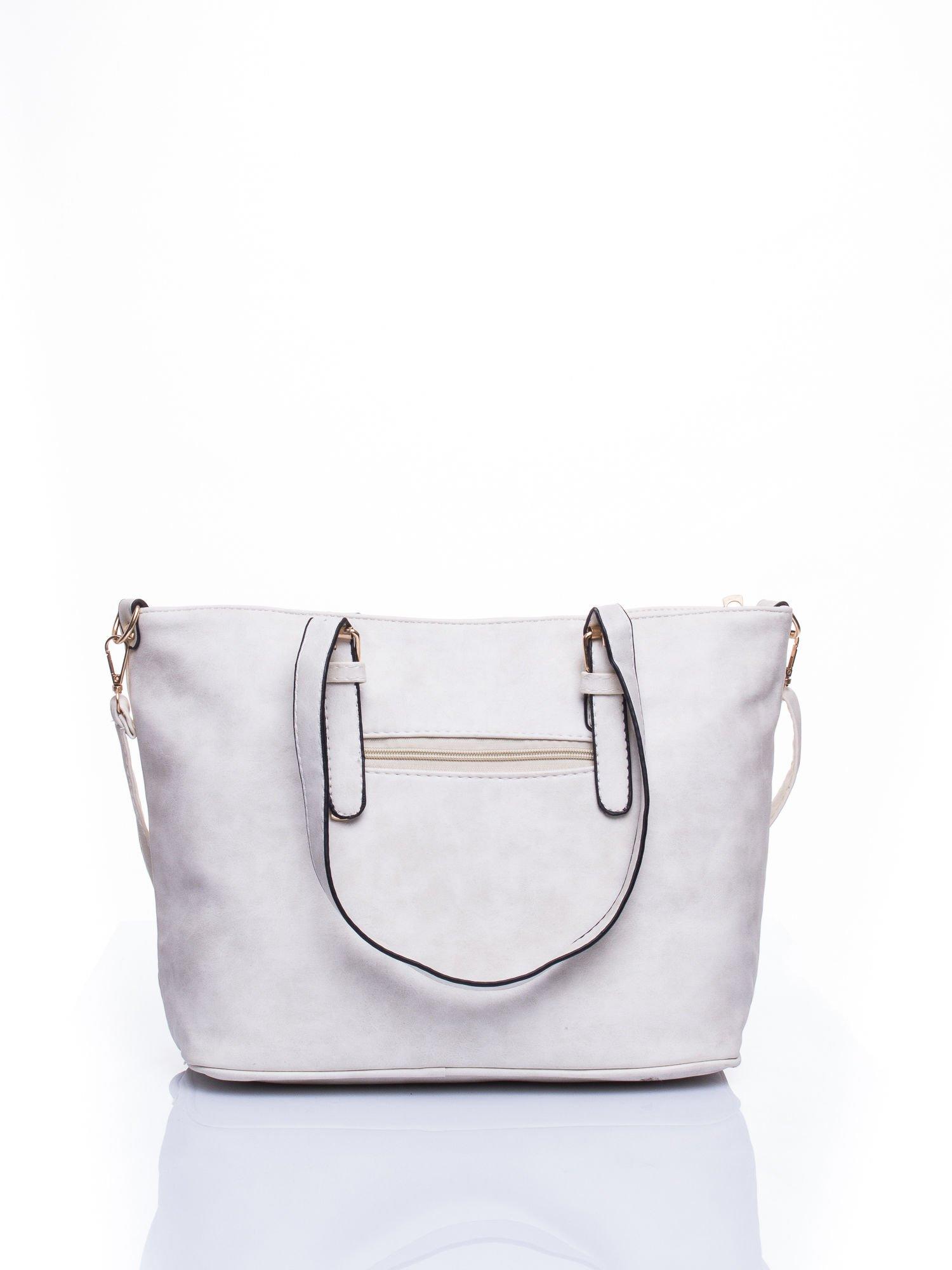 Ecru torba shopper bag z zawieszką                                  zdj.                                  2